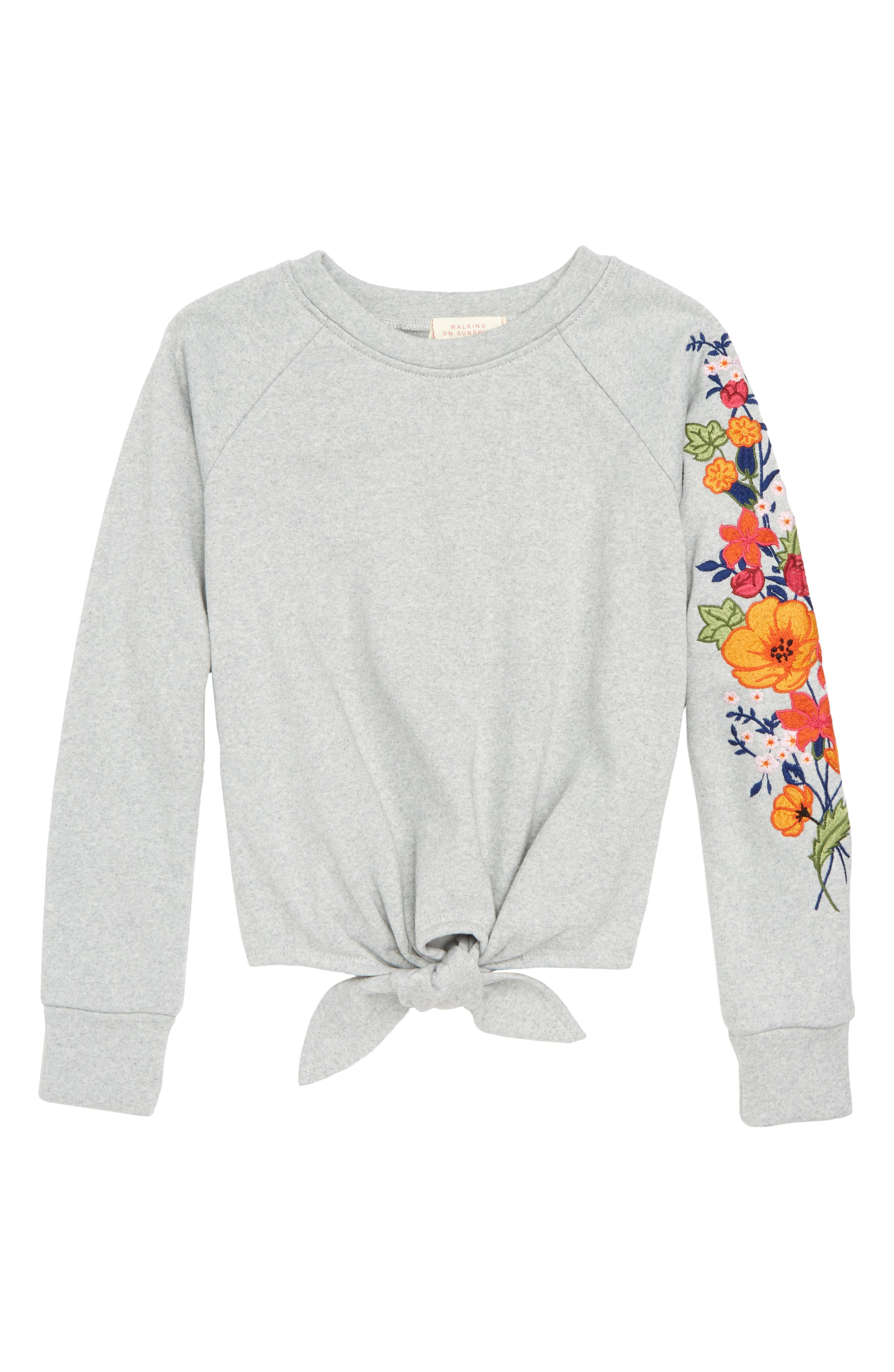 Tie Front Embroidered Sweatshirt,                             Main thumbnail 1, color,                             HEATHER GREY