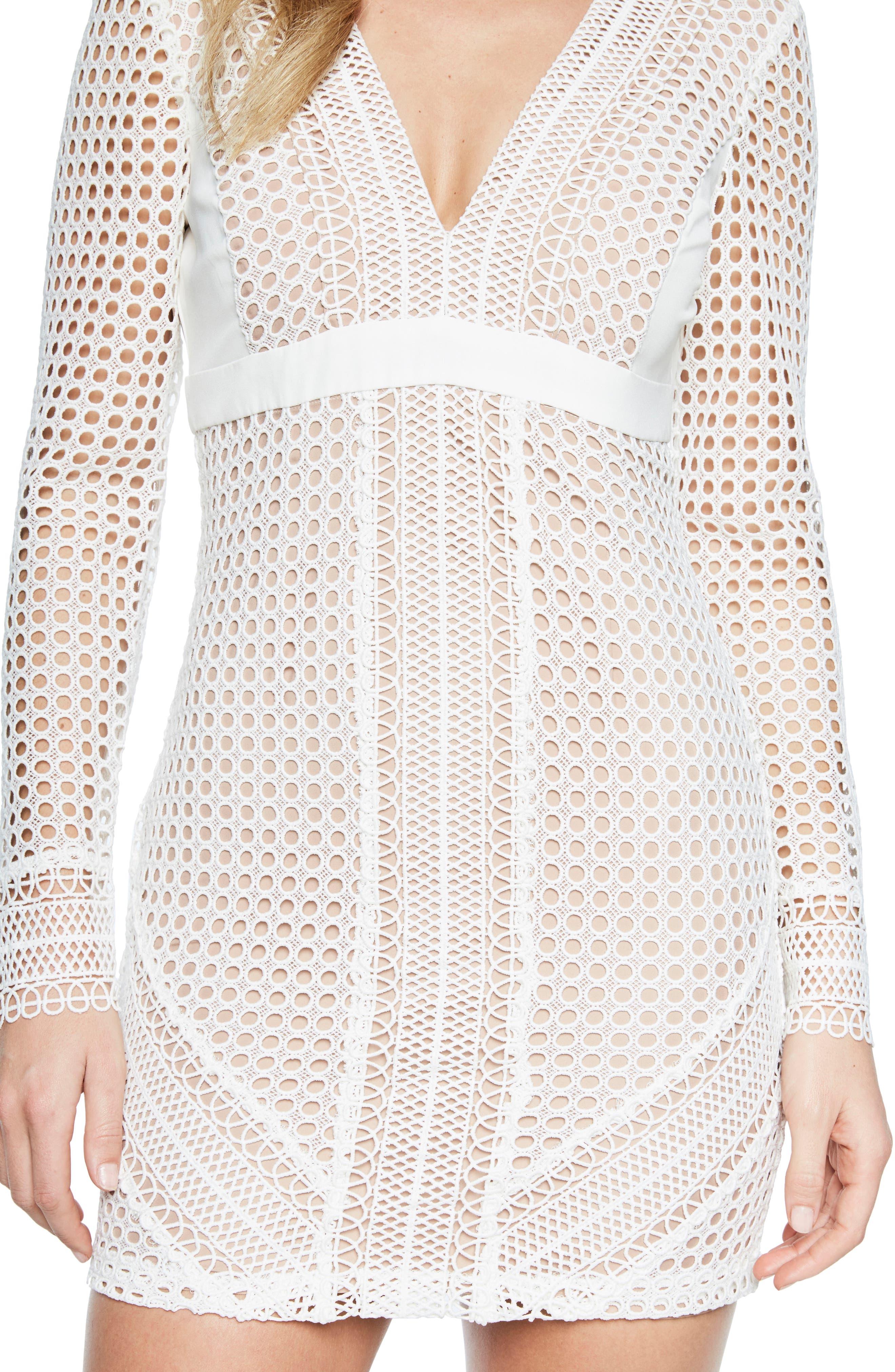 Clio Crochet Body-Con Dress,                             Alternate thumbnail 3, color,