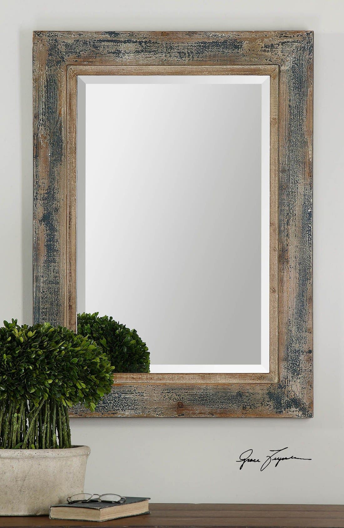 'Bozeman' Distressed Wooden Mirror,                             Alternate thumbnail 3, color,                             400