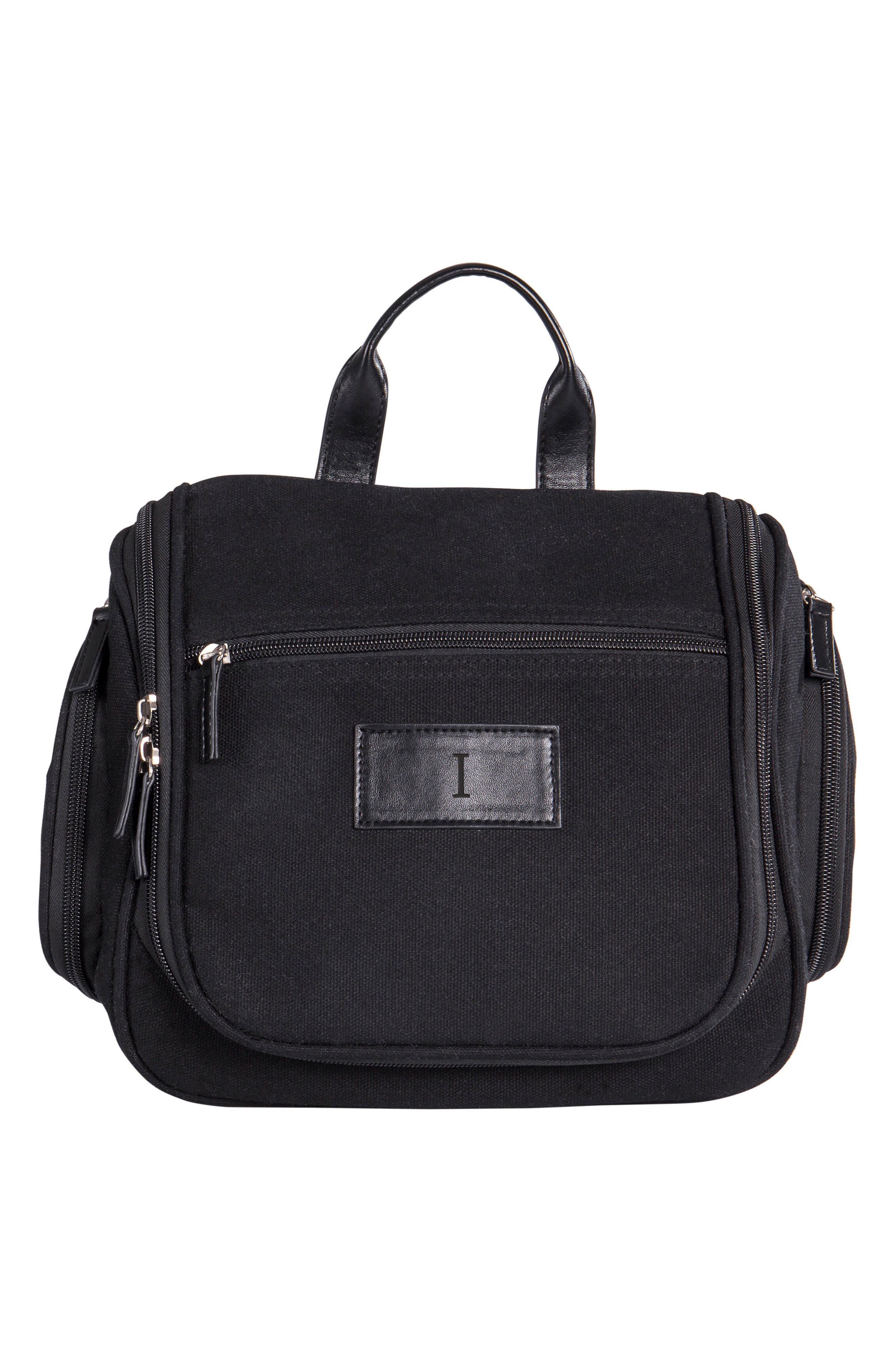 CATHY'S CONCEPTS Monogram Toiletry Bag, Main, color, BLACK-I
