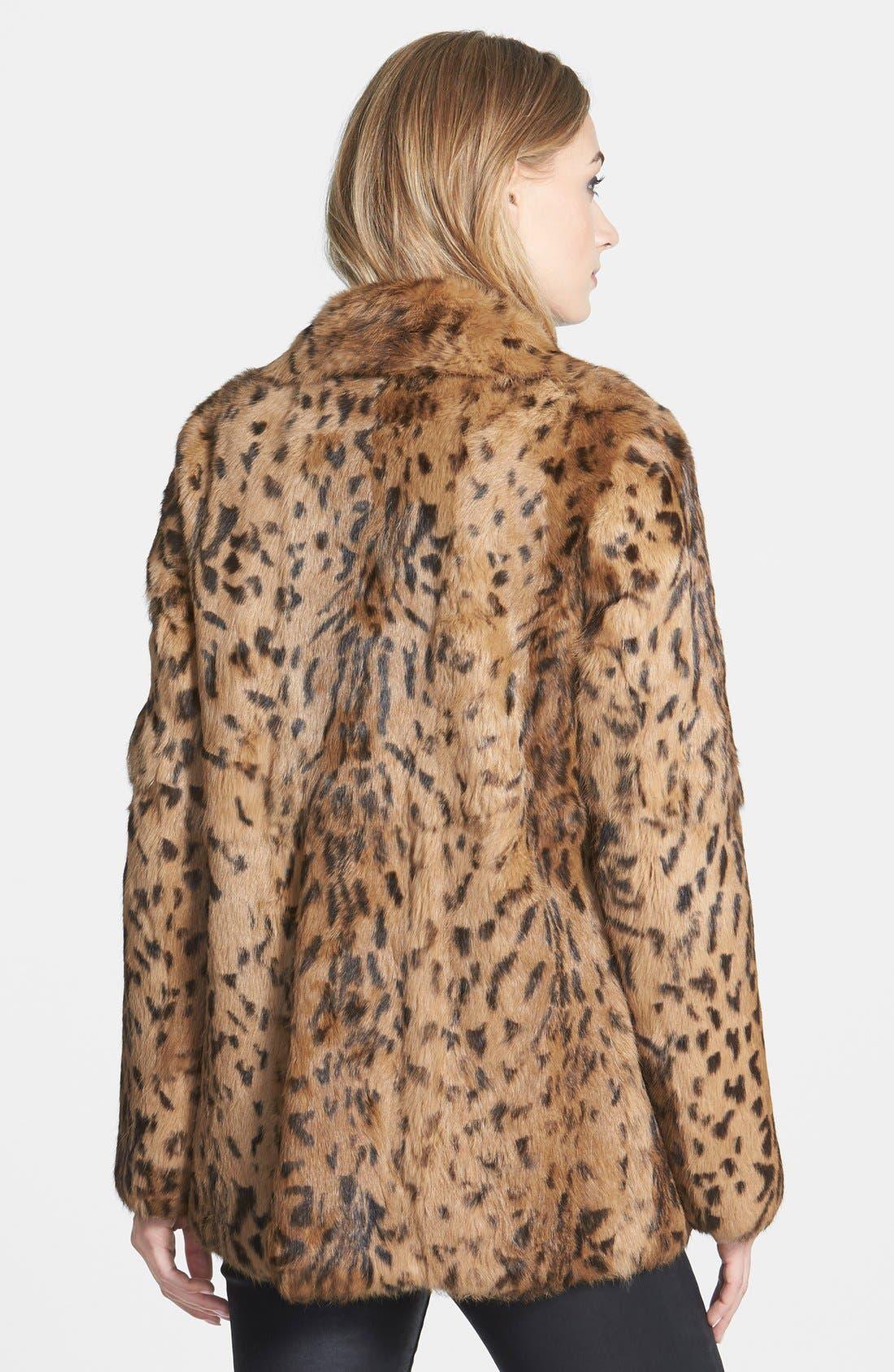 'Jessica' Leopard Print Genuine Rabbit Fur Jacket,                             Alternate thumbnail 2, color,                             200