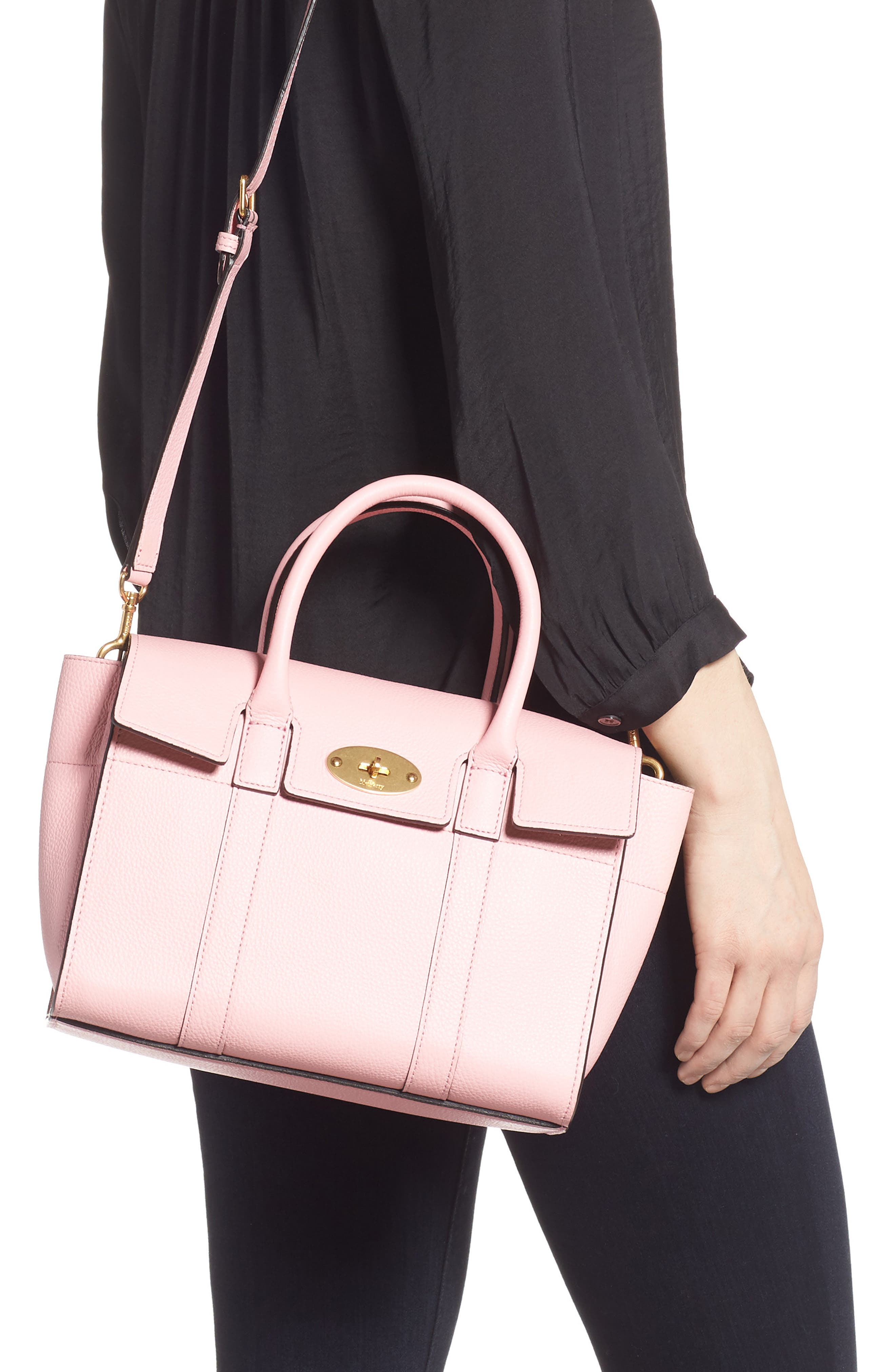 Small Bayswater Leather Satchel,                             Alternate thumbnail 2, color,                             SORBET PINK