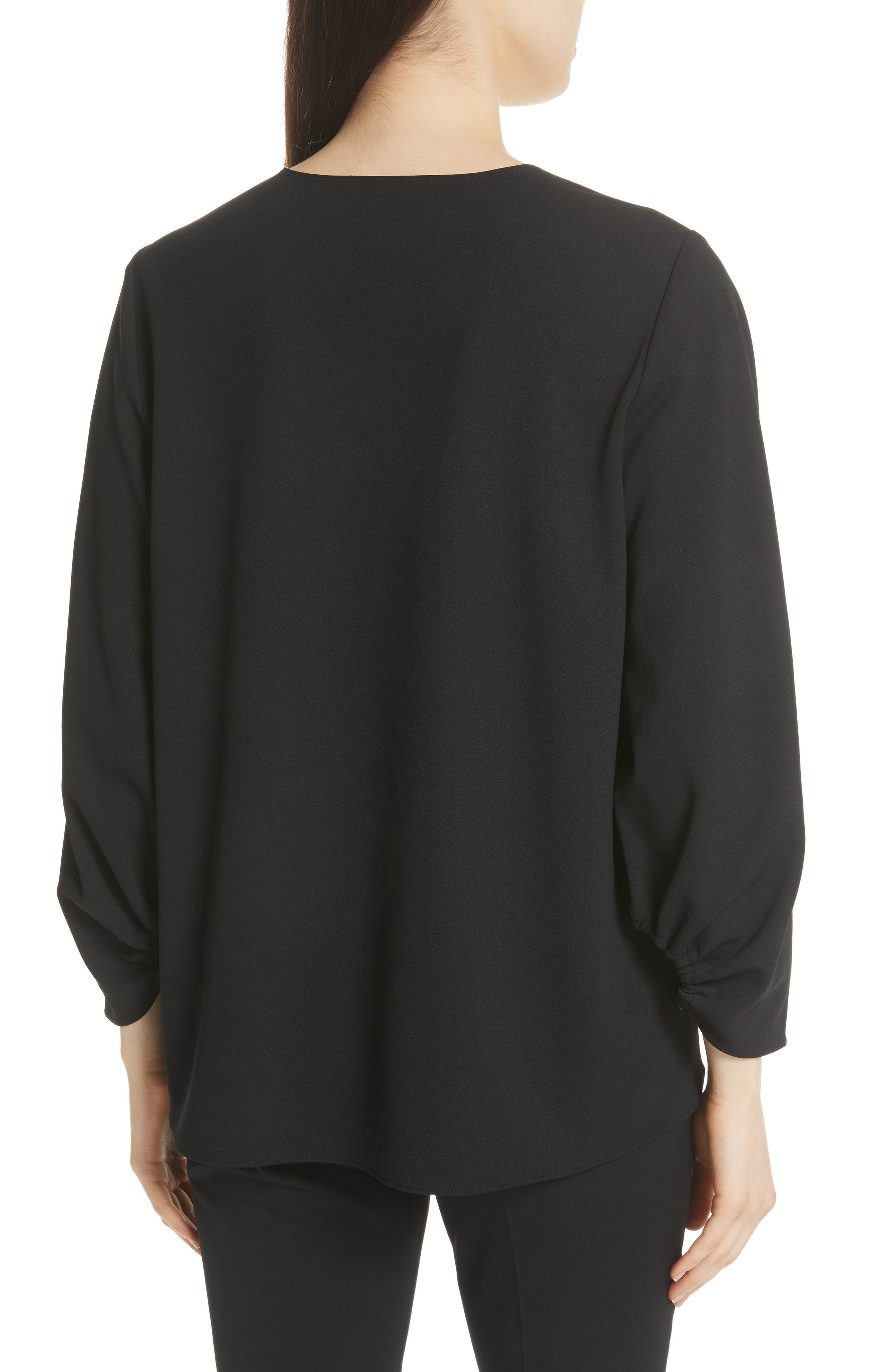 Ruched Sleeve Top,                             Alternate thumbnail 2, color,                             BLACK