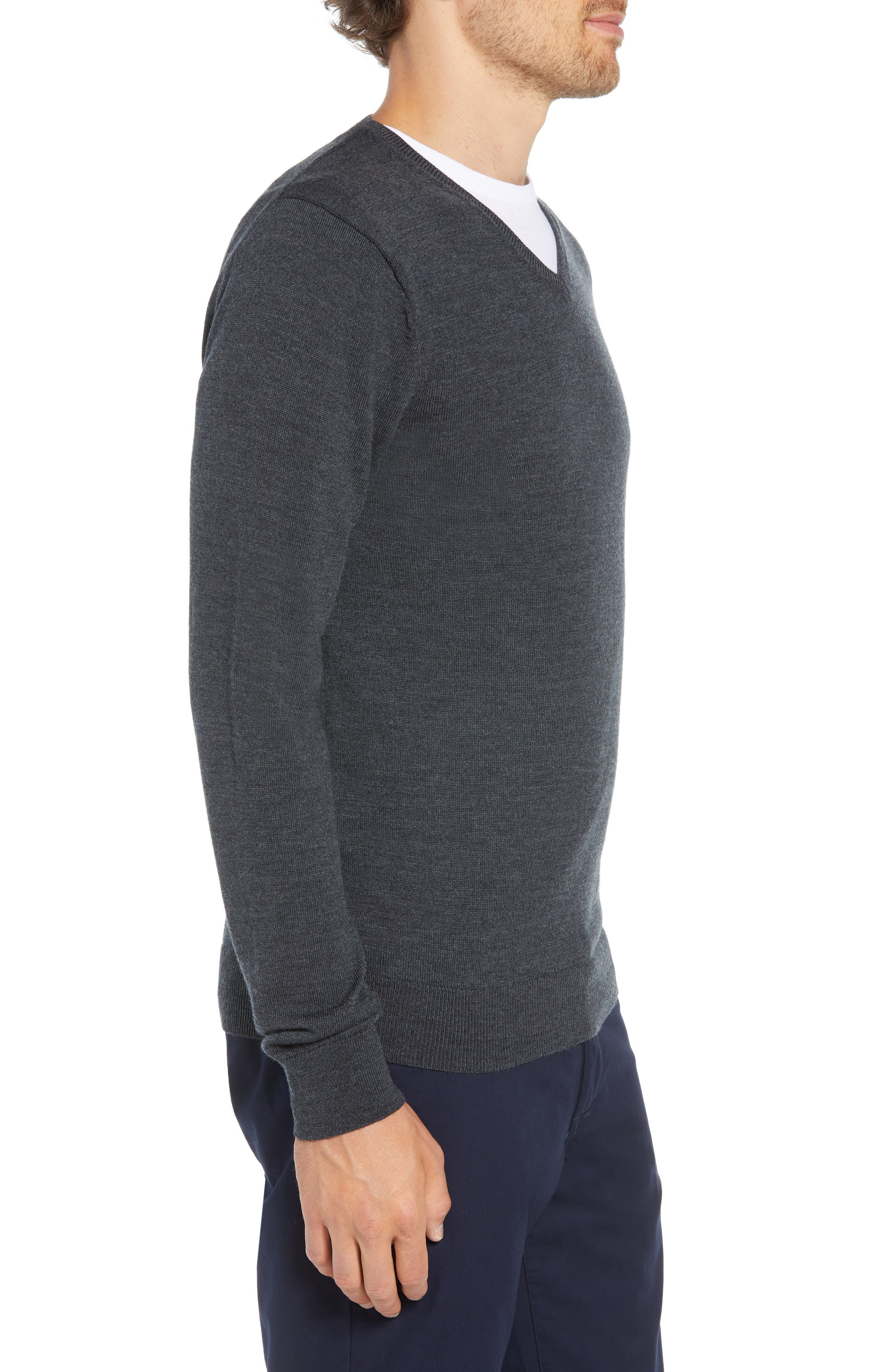 Slim Fit V-Neck Merino Wool Sweater,                             Alternate thumbnail 3, color,                             HEATHER CHARCOAL