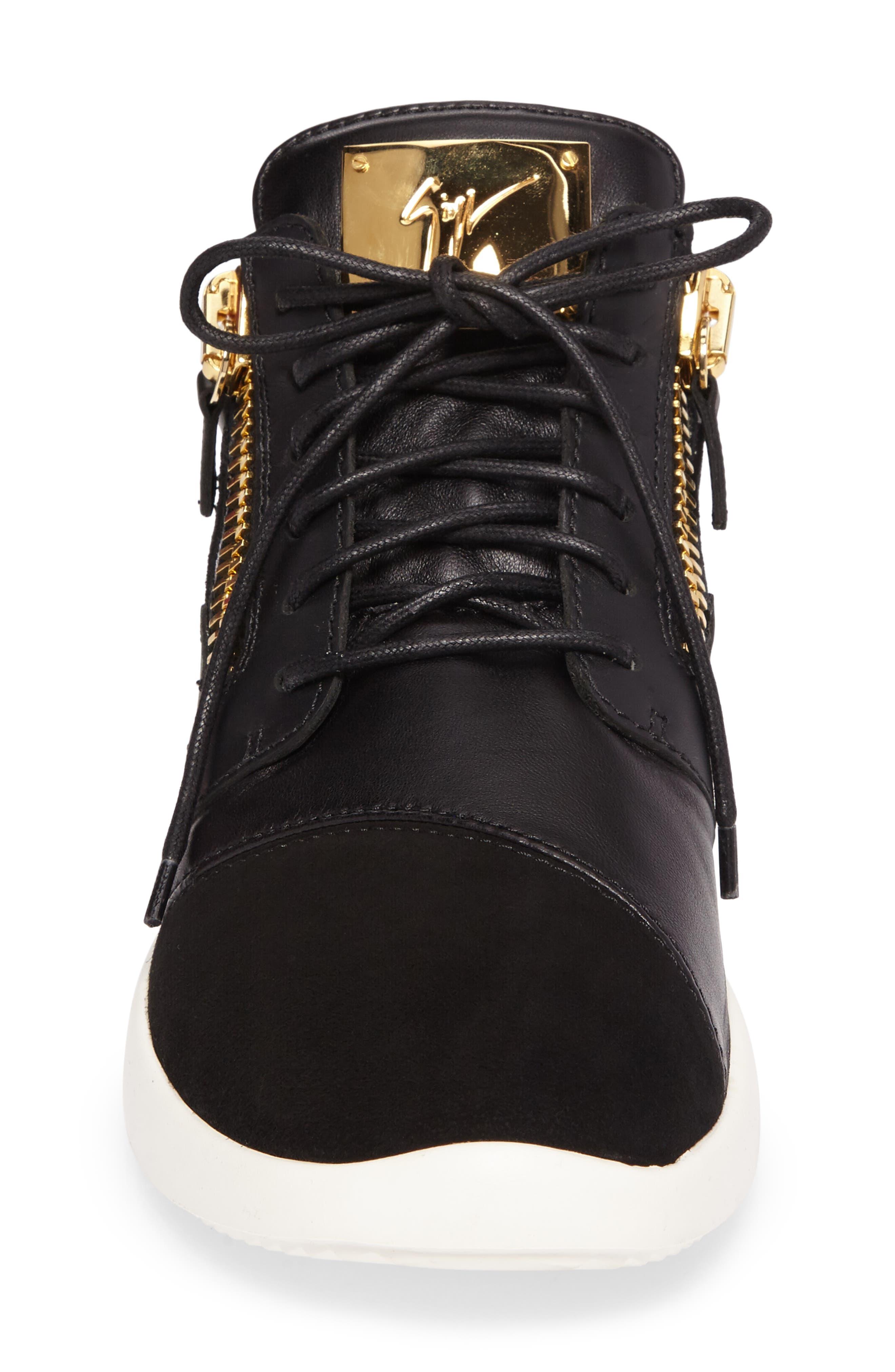 Mid-Top Sneaker,                             Alternate thumbnail 4, color,                             BLACK