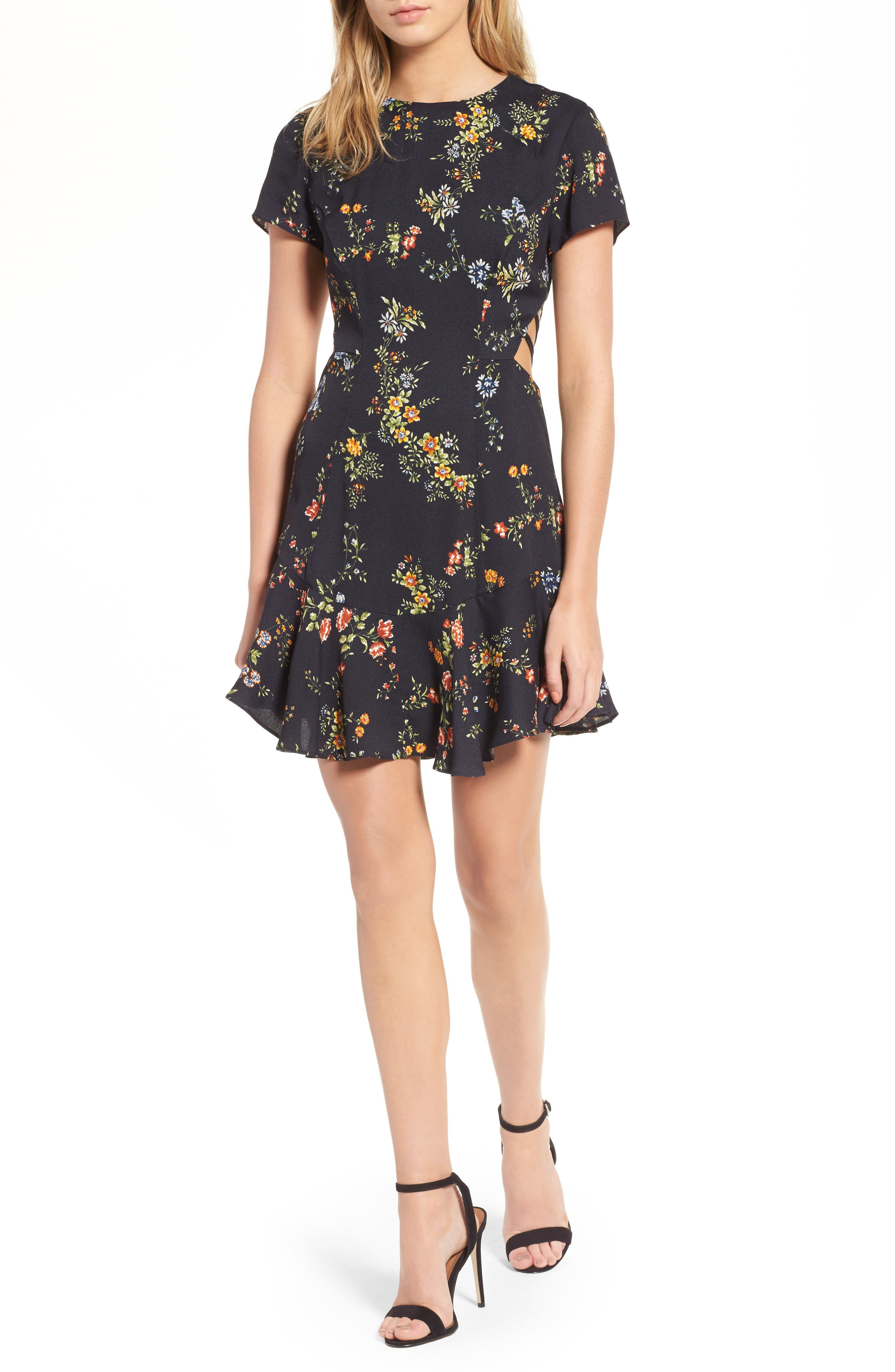 Chelsea Lattice Back Fit & Flare Dress,                             Main thumbnail 2, color,