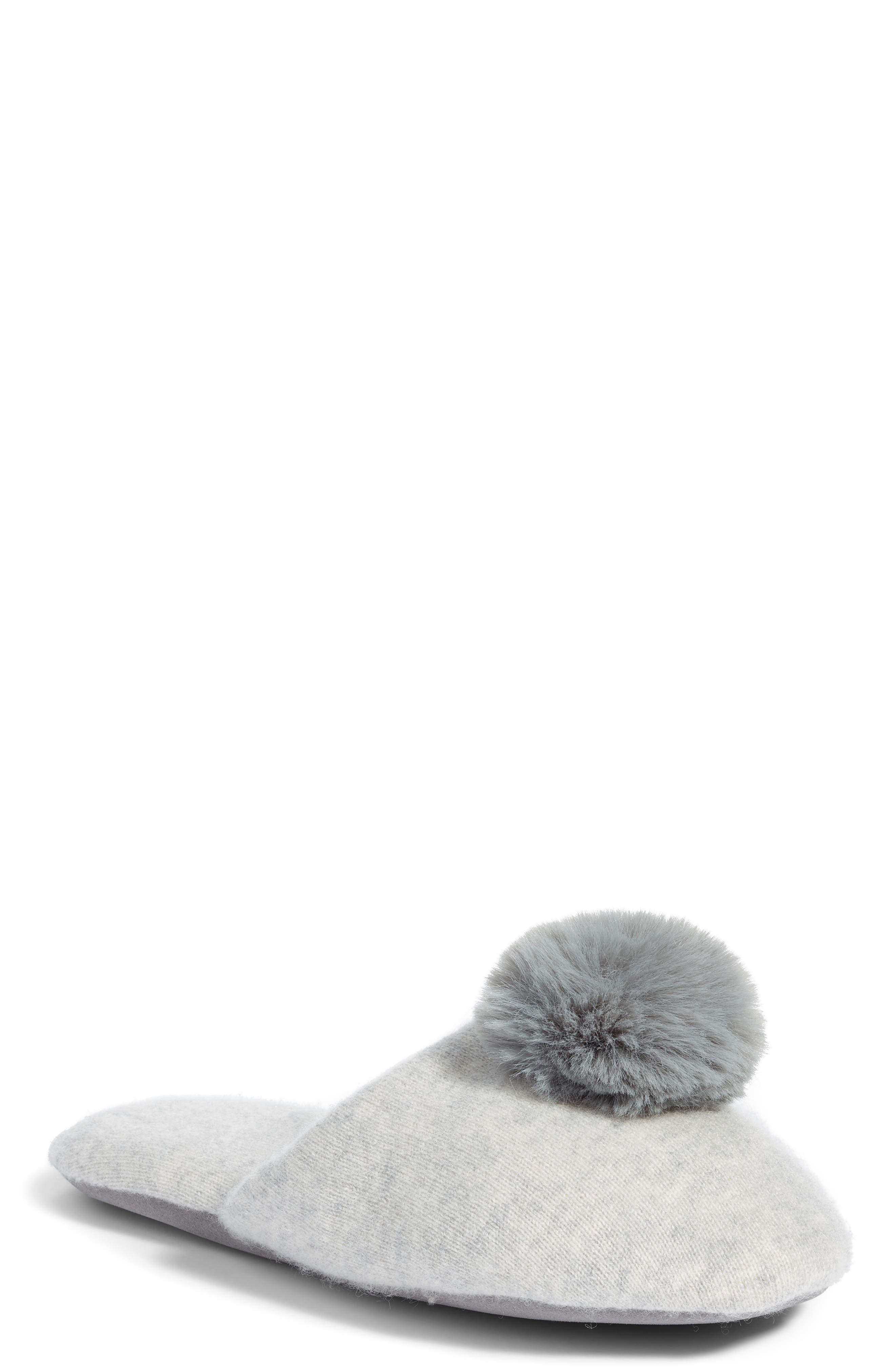 NORDSTROM,                             Wool & Cashmere Slippers with Faux Fur Pompom,                             Main thumbnail 1, color,                             GREY HEATHER