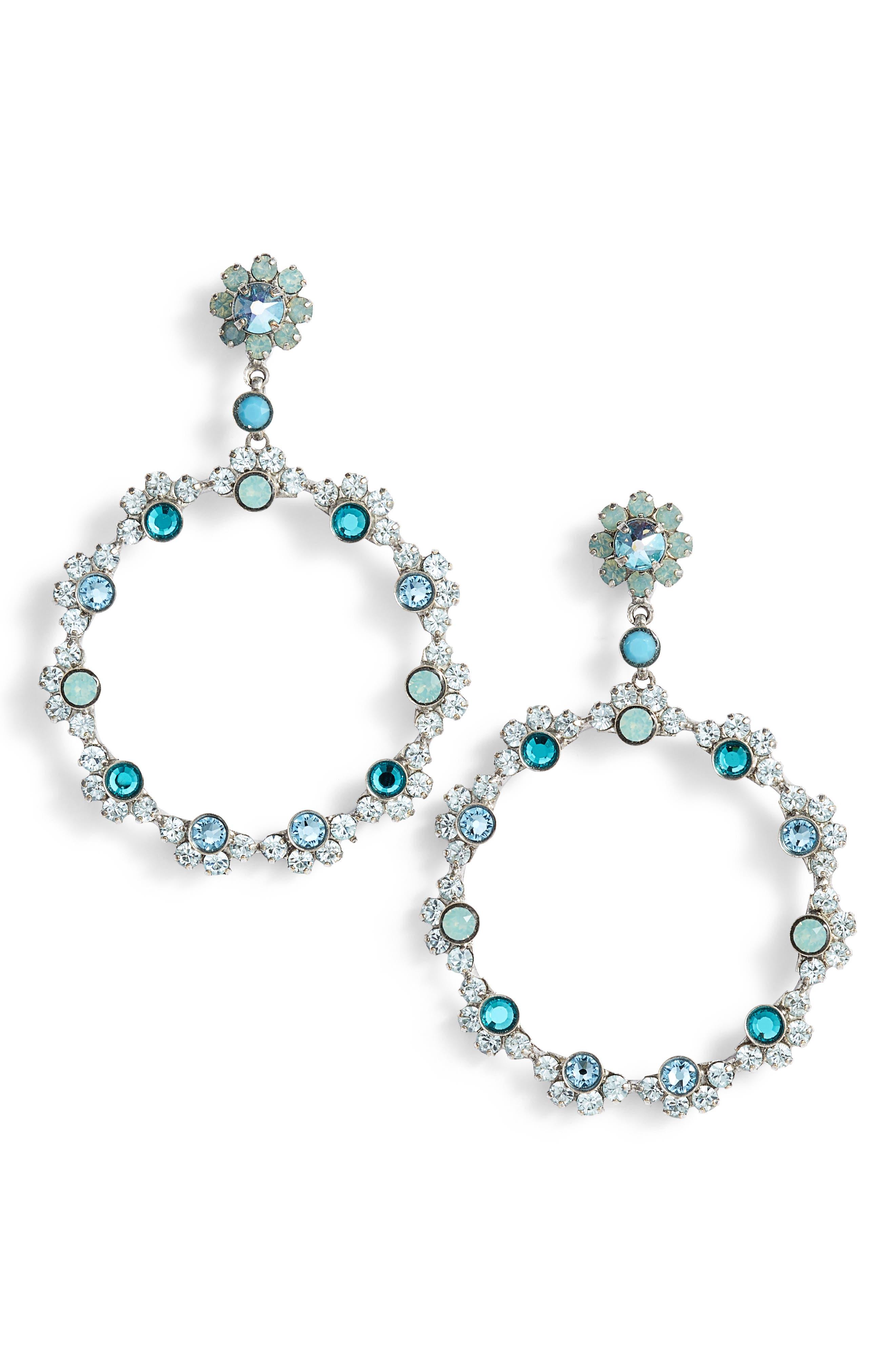 Cirque Crystal Hoop Earrings,                         Main,                         color, 440