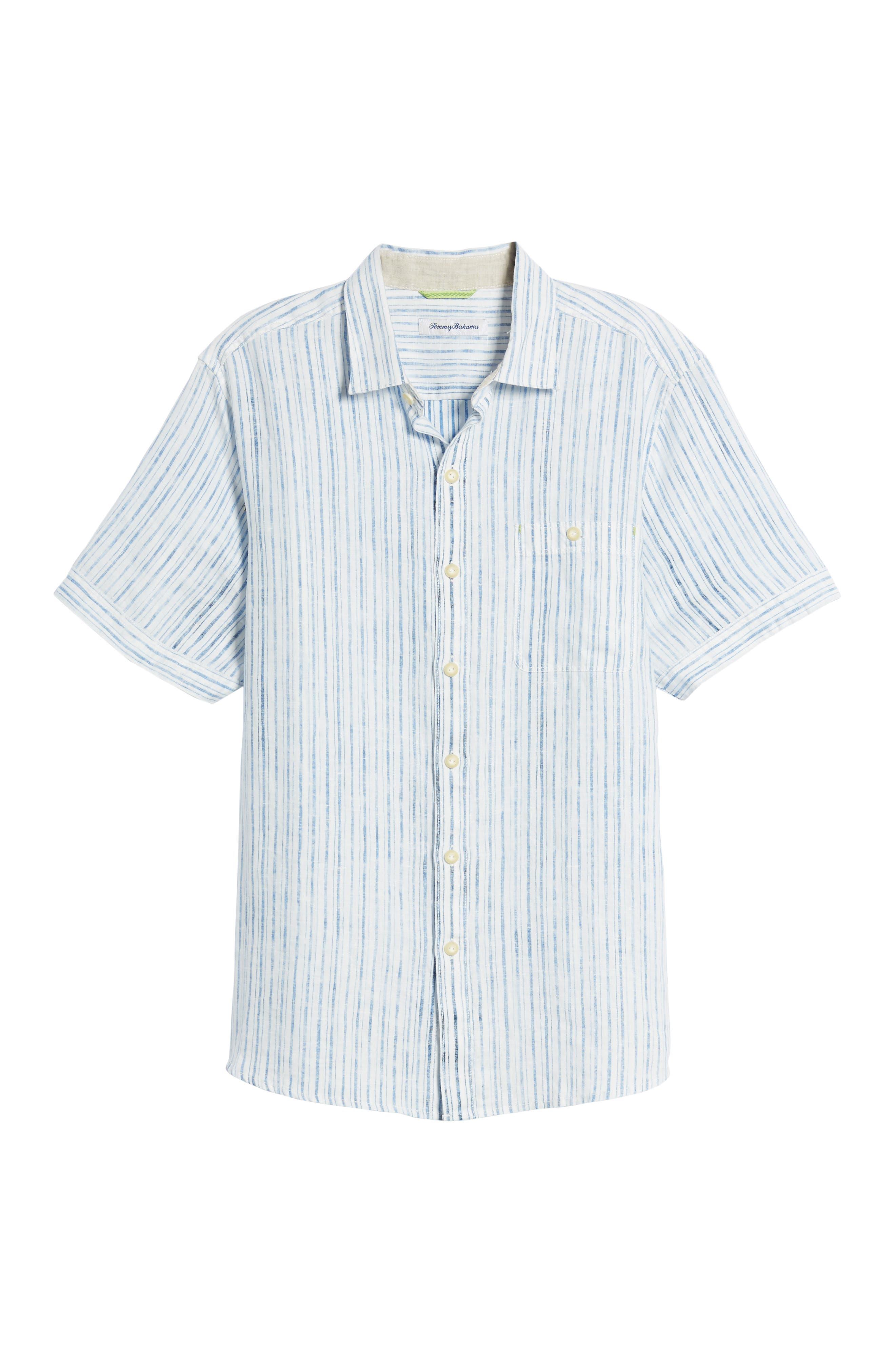 Del Soul Stripe Linen Sport Shirt,                             Alternate thumbnail 6, color,                             BLUE SPARK