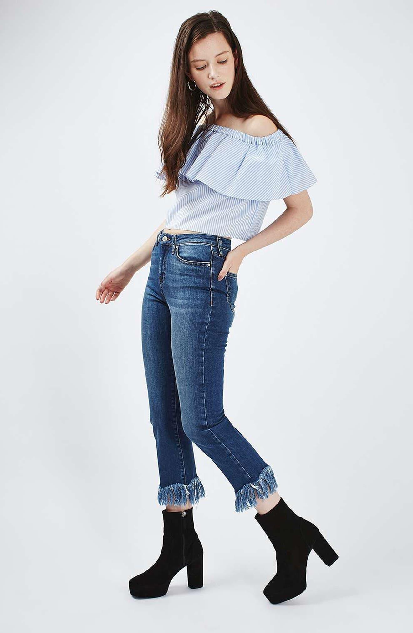 Dree Fringe Crop Jeans,                             Alternate thumbnail 4, color,                             401
