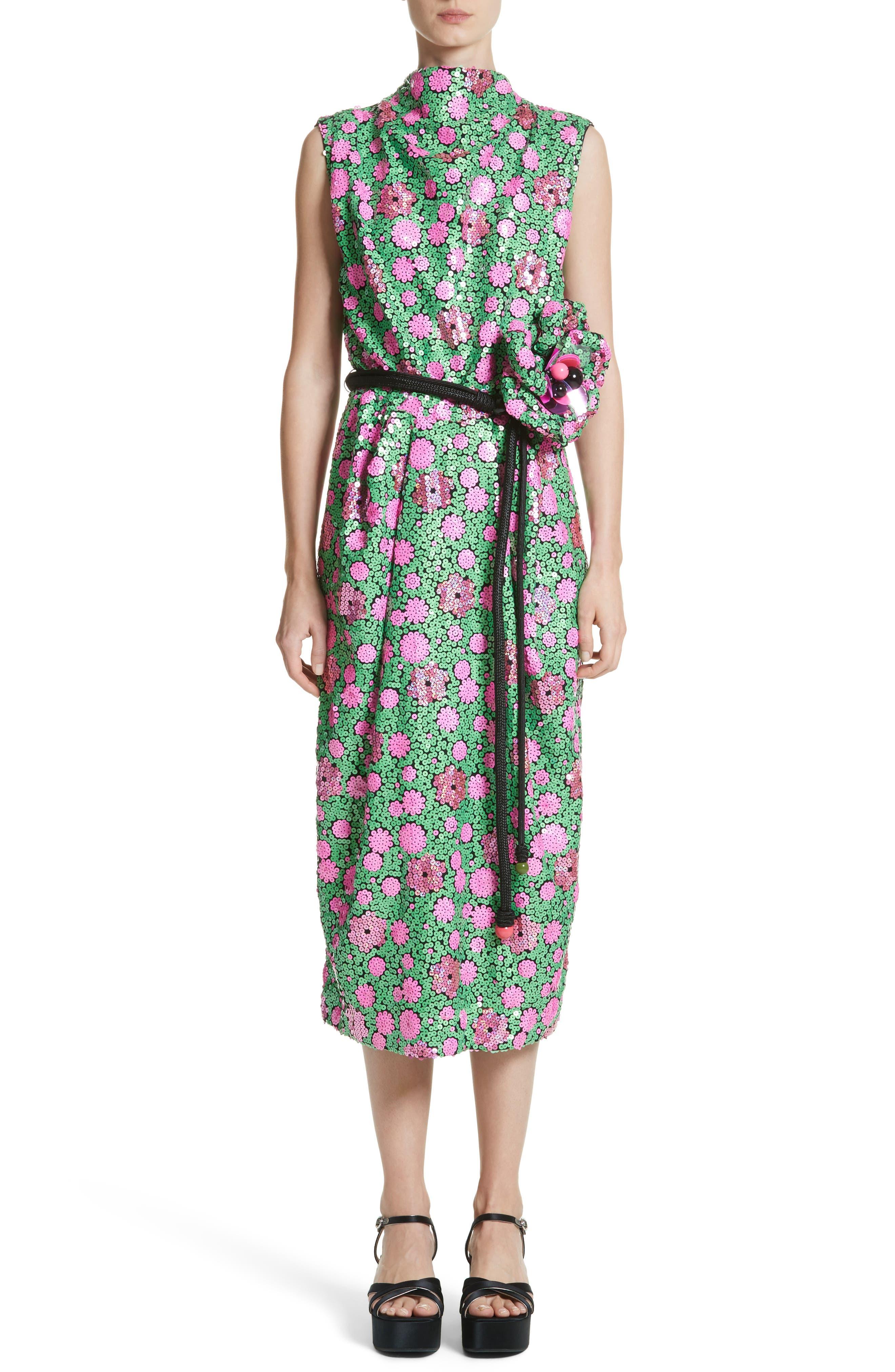 Floral Sequin Midi dress,                         Main,                         color, 300