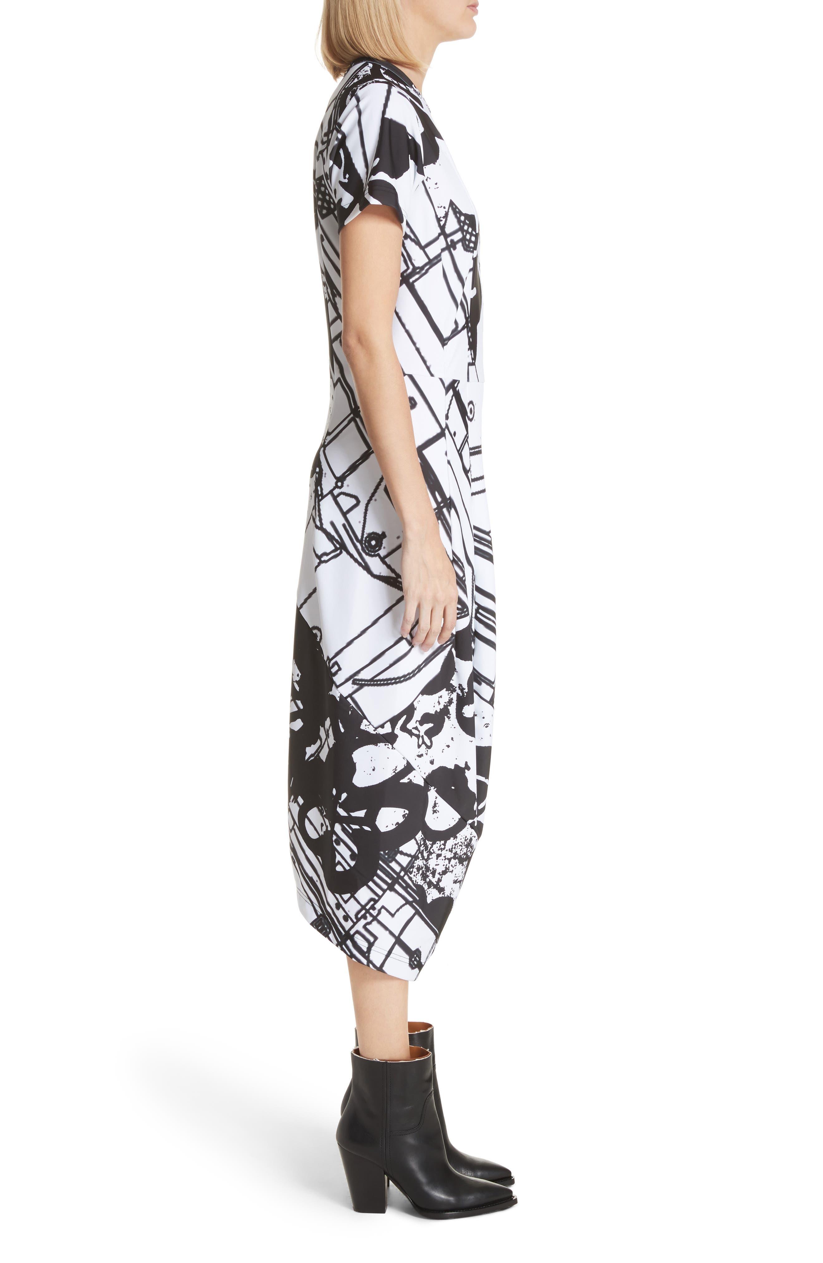 Graffiti Print T-Shirt Dress,                             Alternate thumbnail 3, color,                             100
