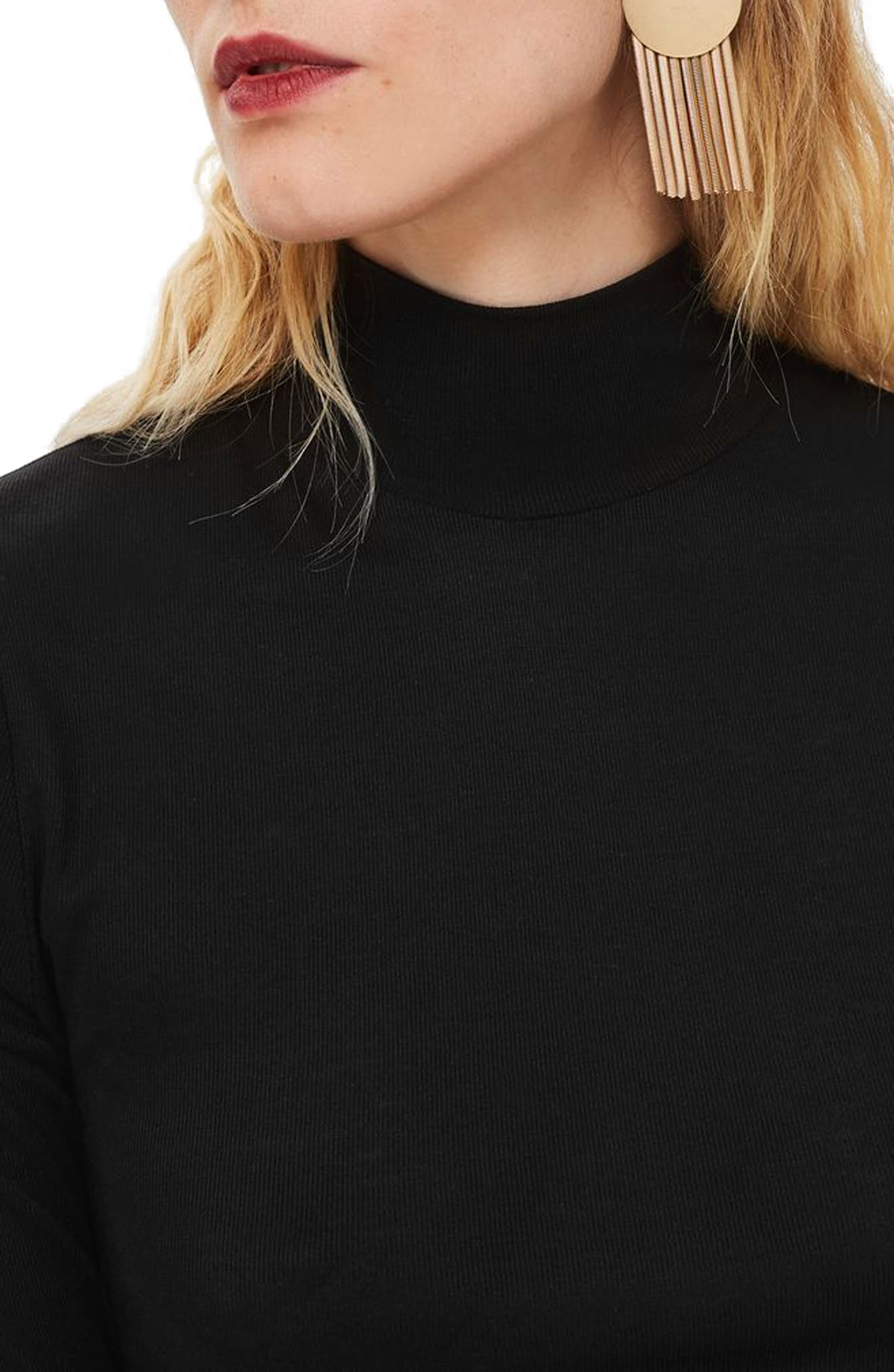 Elbow Sleeve Turtleneck Top,                             Alternate thumbnail 3, color,                             BLACK
