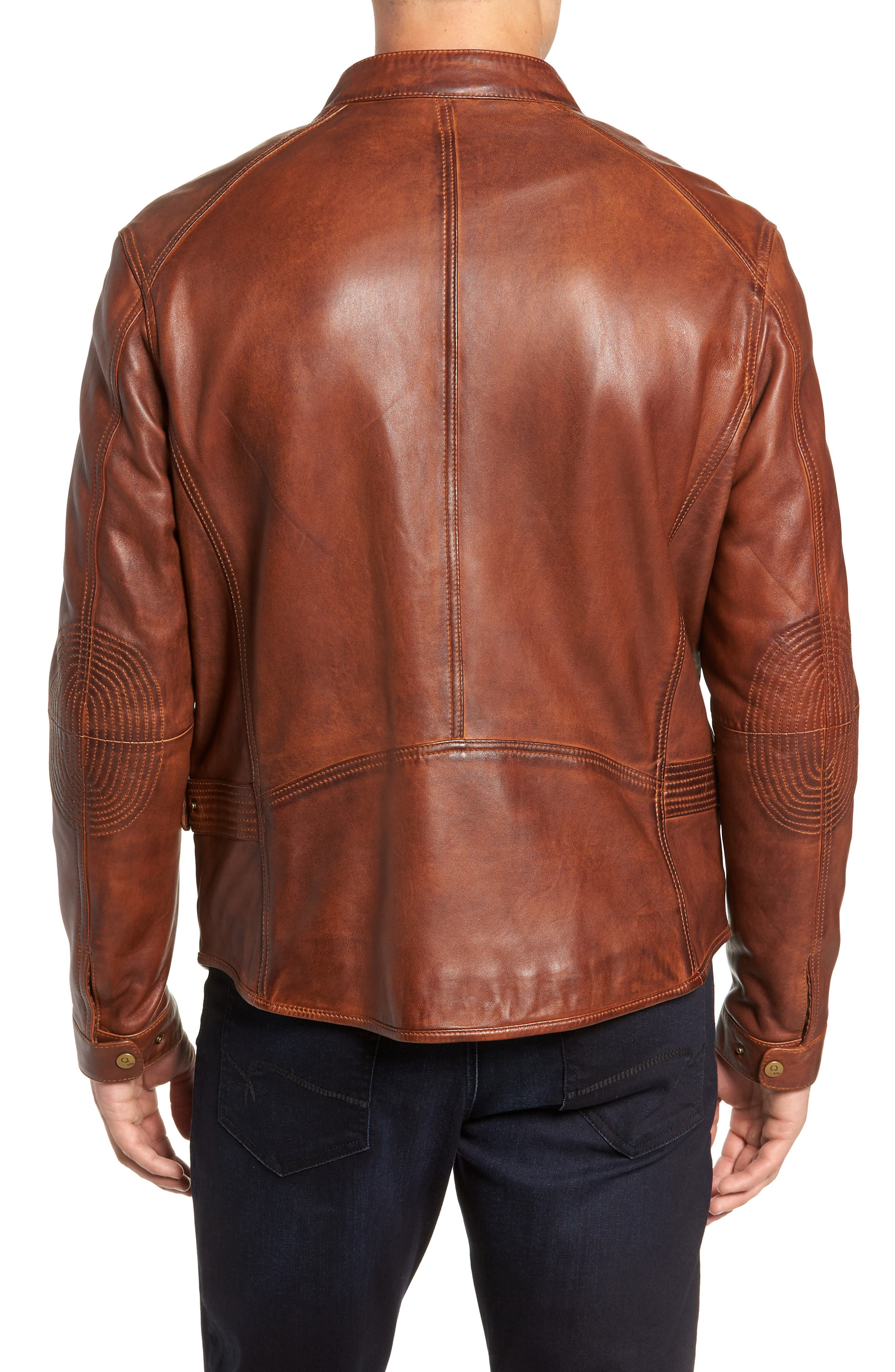 Leather Jacket,                             Alternate thumbnail 2, color,                             BROWN