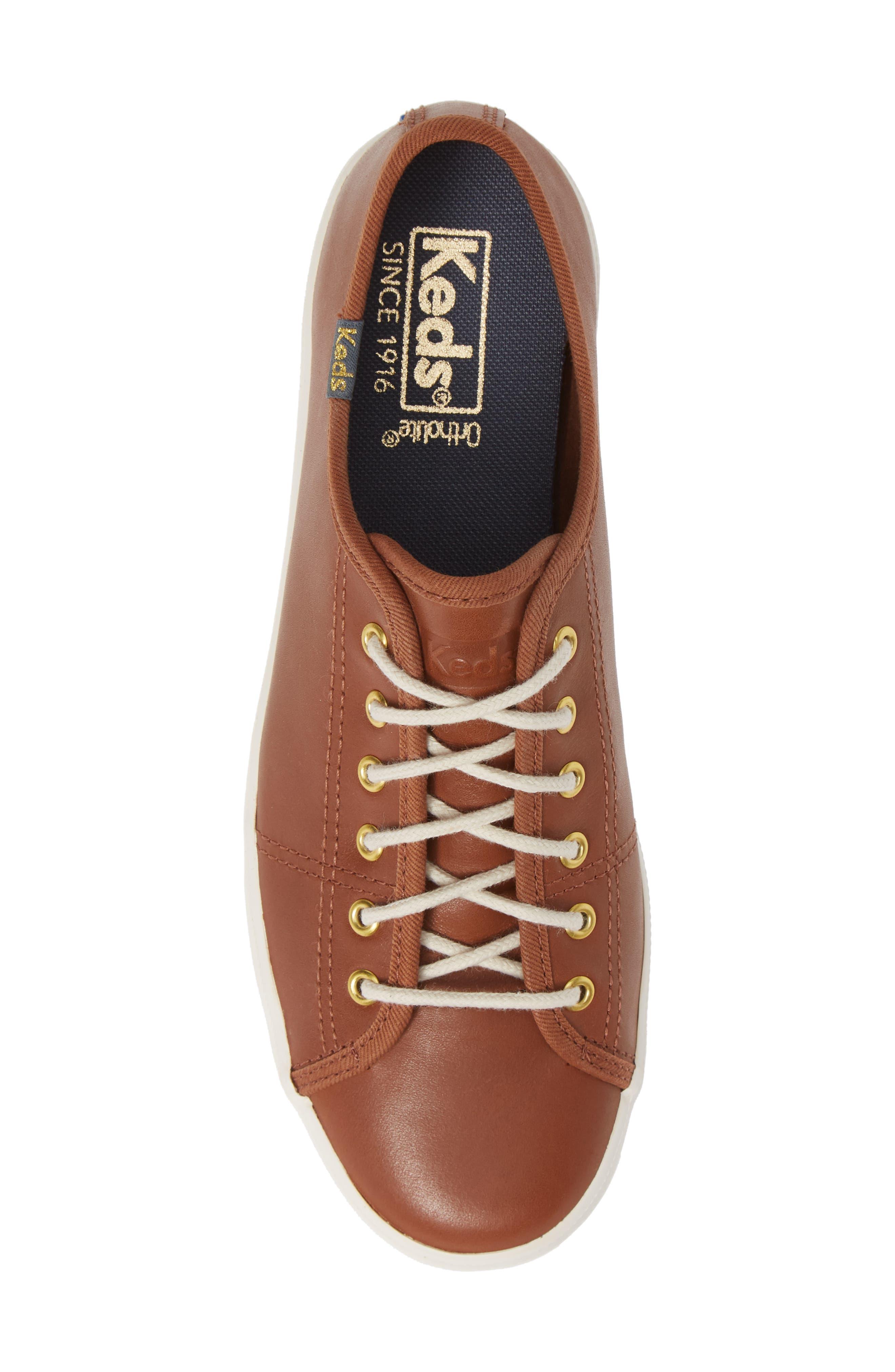 KEDS<SUP>®</SUP>,                             Kickstart Low Top Sneaker,                             Alternate thumbnail 5, color,                             COGNAC