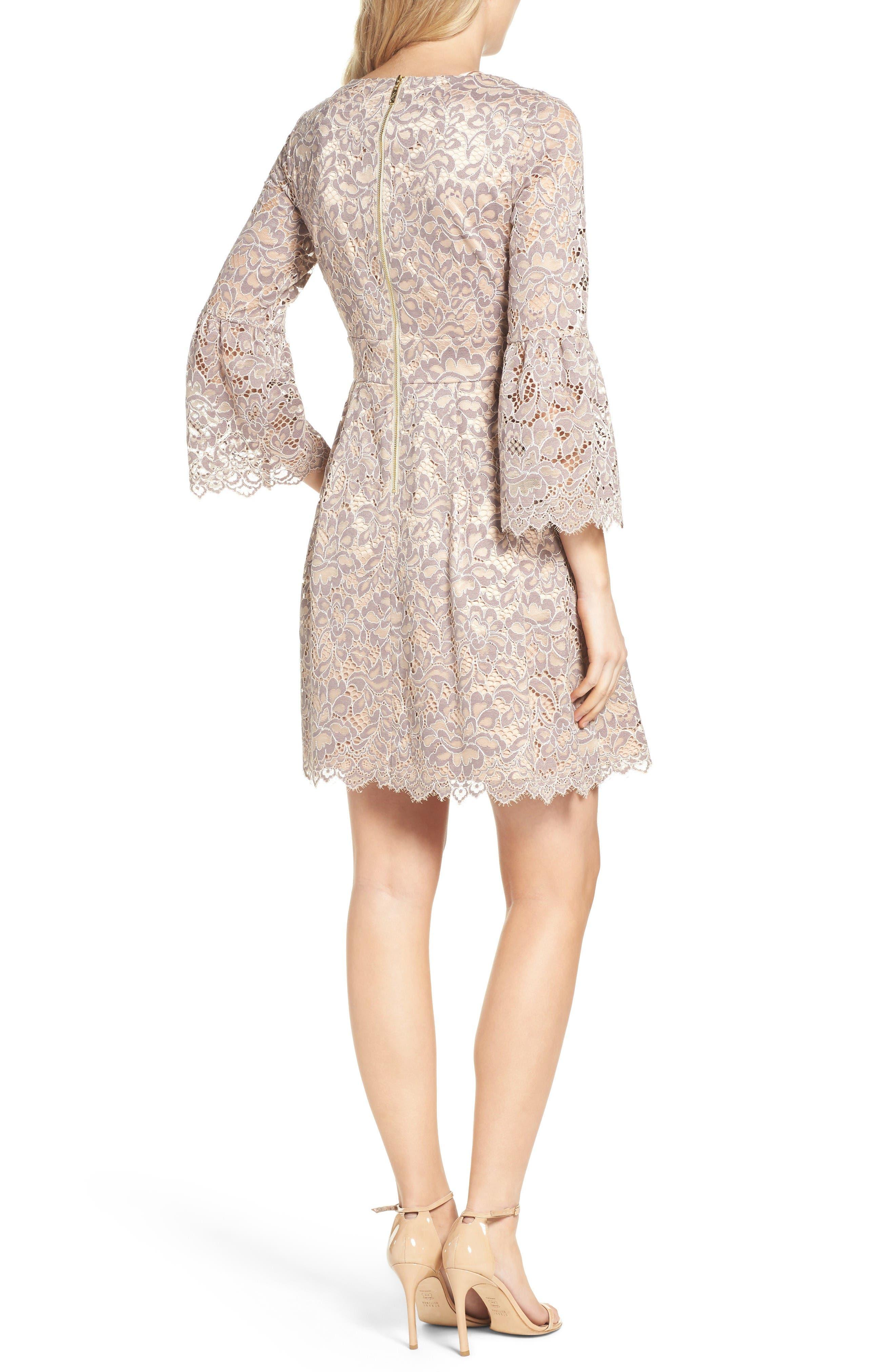 Lace Fit & Flare Dress,                             Alternate thumbnail 9, color,                             030