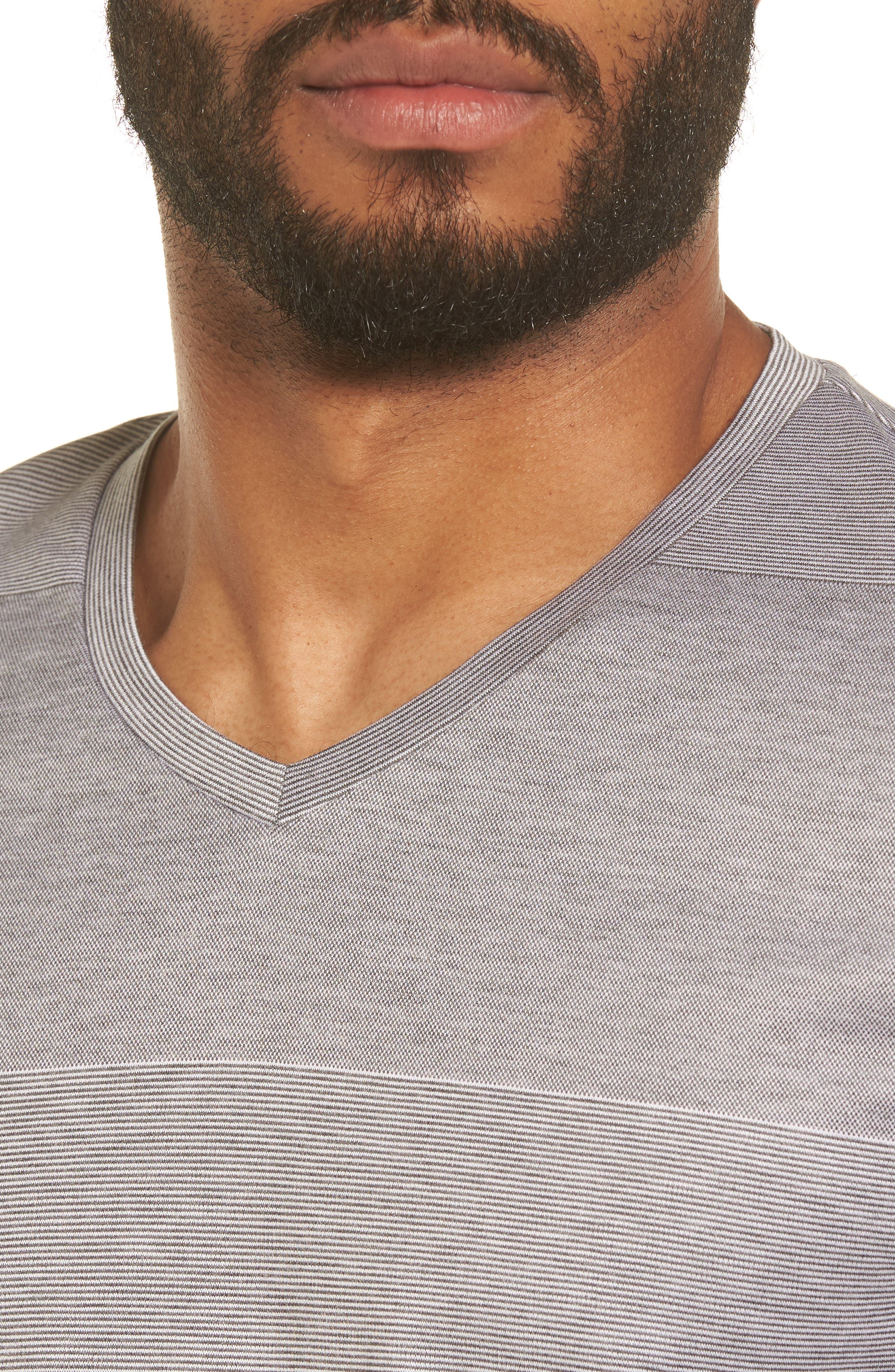 Slim Fit Stripe V-Neck T-Shirt,                             Alternate thumbnail 4, color,                             030