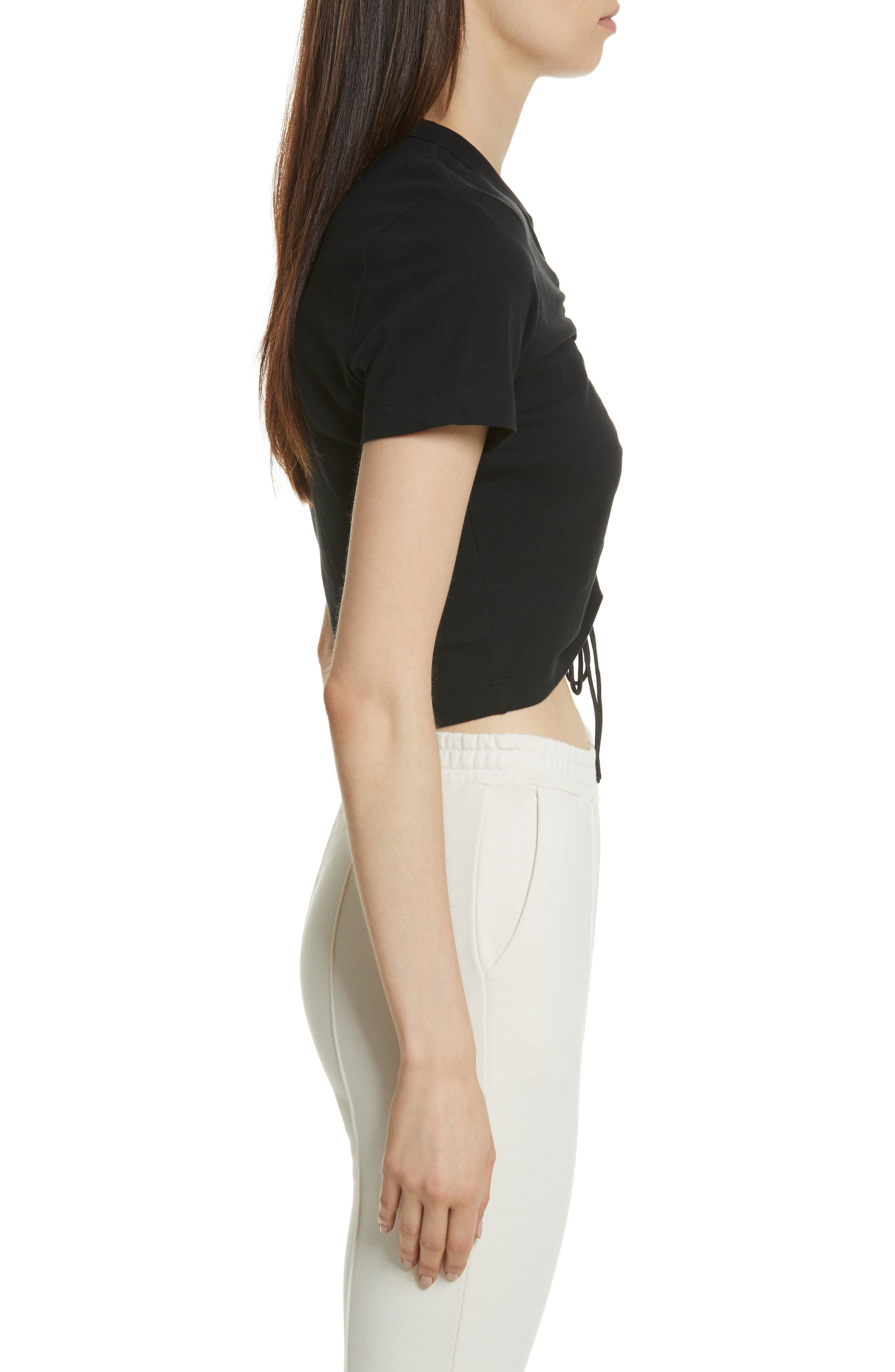 T by Alexander Wang Ruched Cotton Tee,                             Alternate thumbnail 3, color,                             001