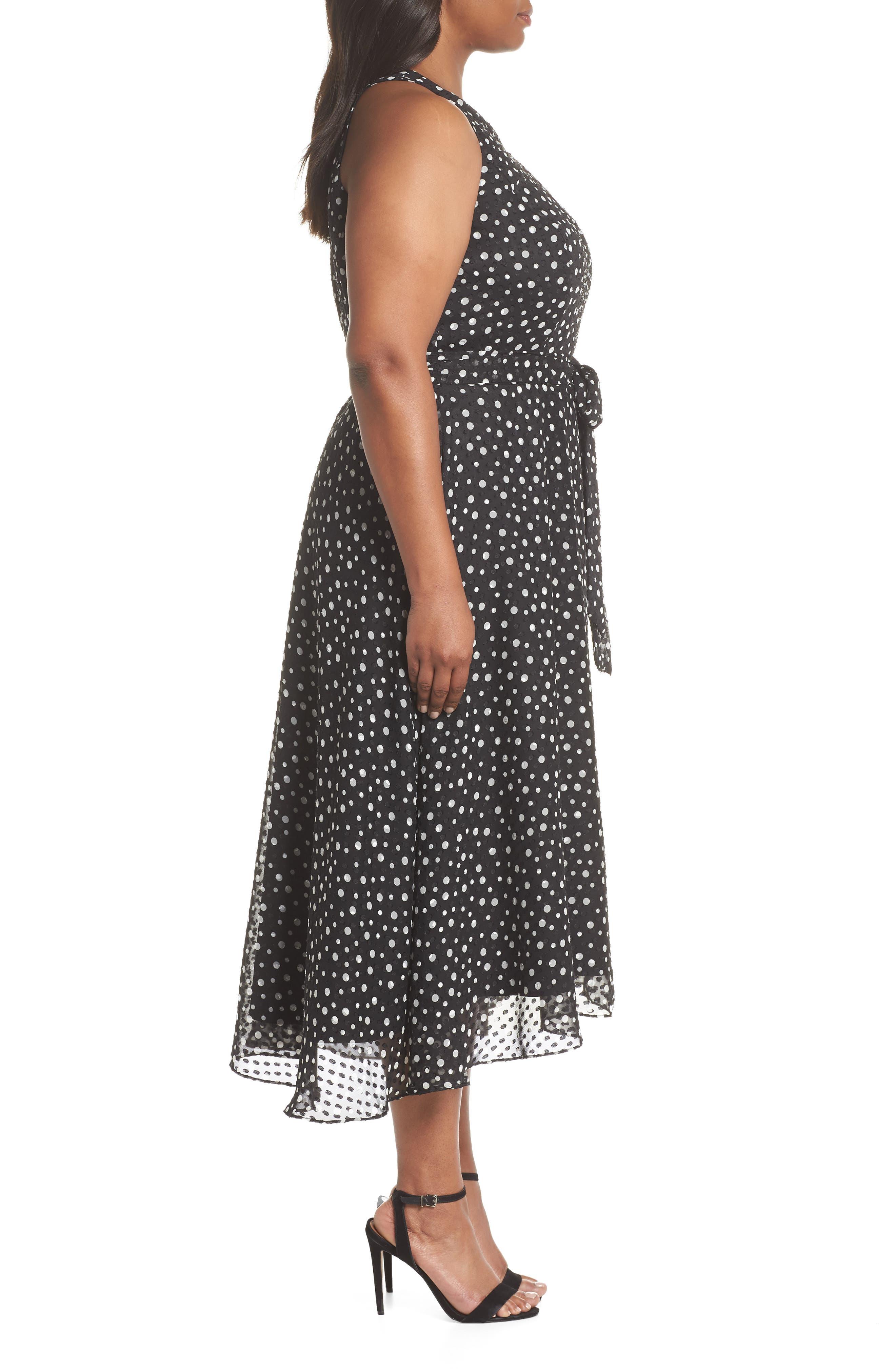 Polka Dot Keyhole Chiffon Dress,                             Alternate thumbnail 3, color,                             003