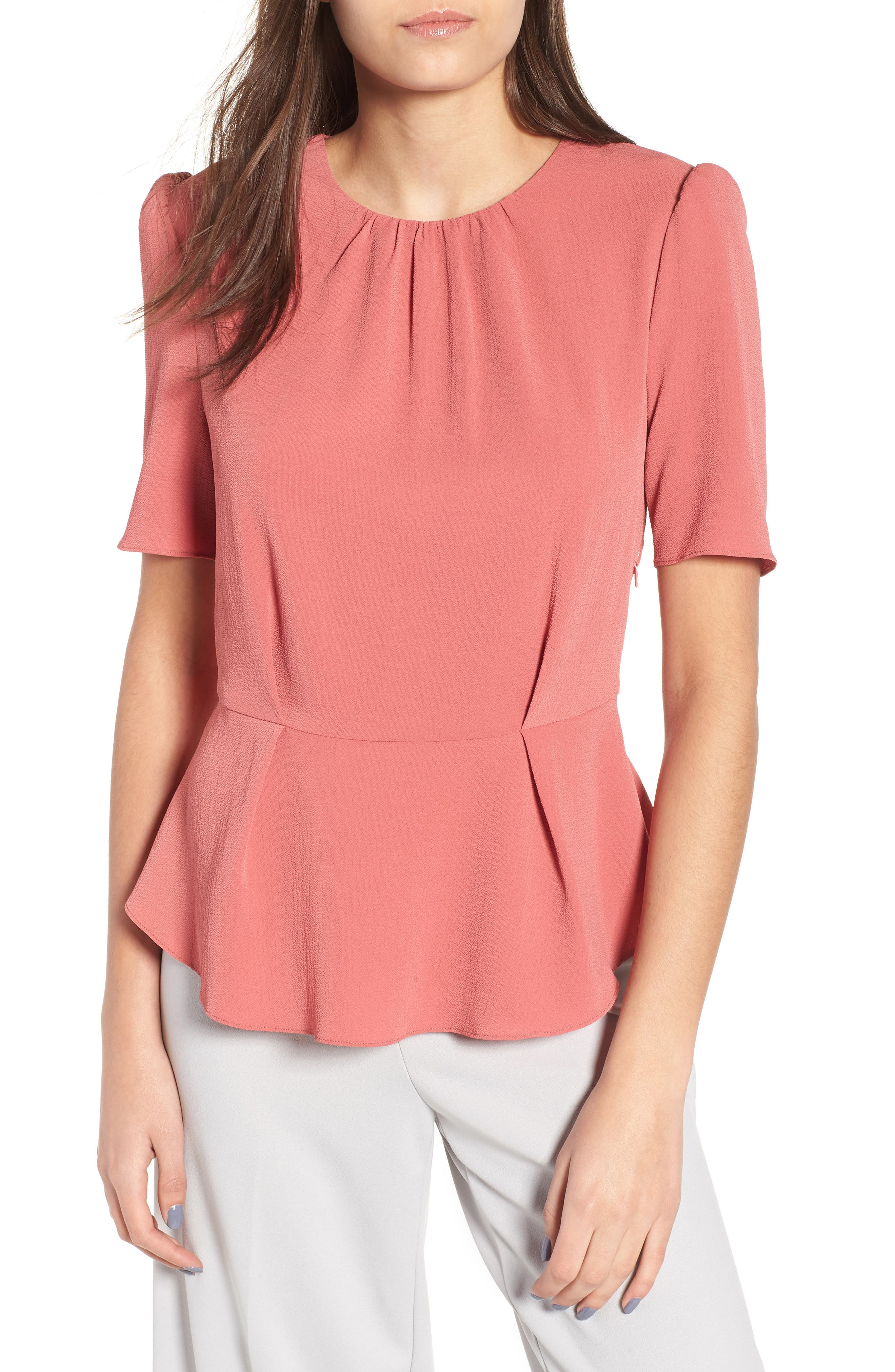 Short Sleeve Peplum Top,                             Main thumbnail 1, color,                             600
