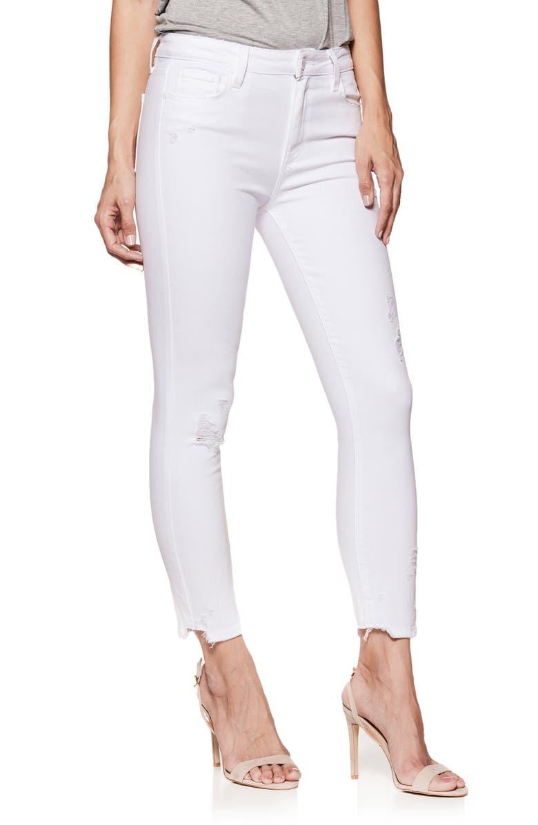 7956c45a041 PAIGE Hoxton High Waist Ankle Skinny Jeans (Crisp White Destructed ...