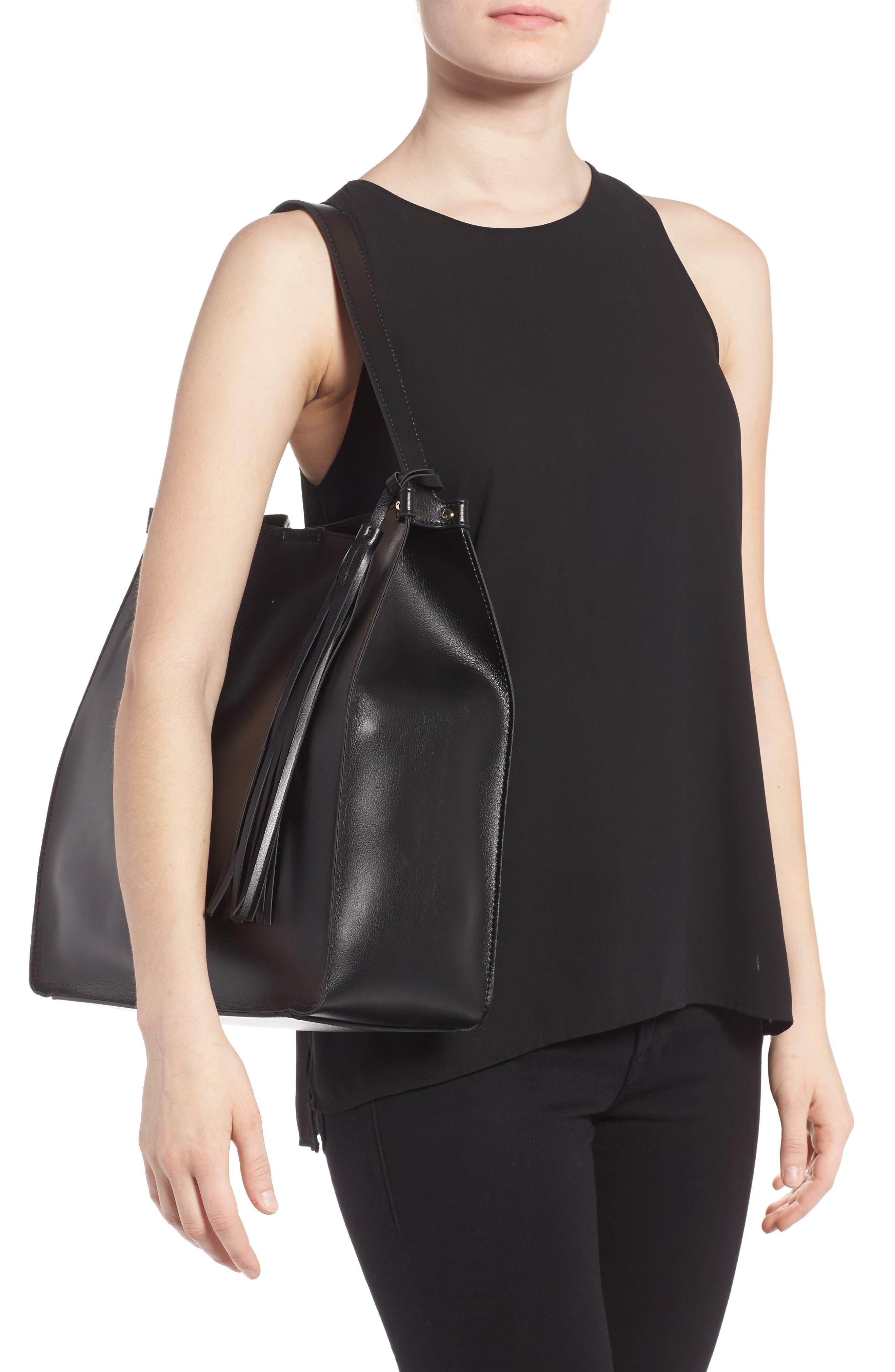 Karlie Faux Leather Bucket Bag,                             Alternate thumbnail 2, color,                             001