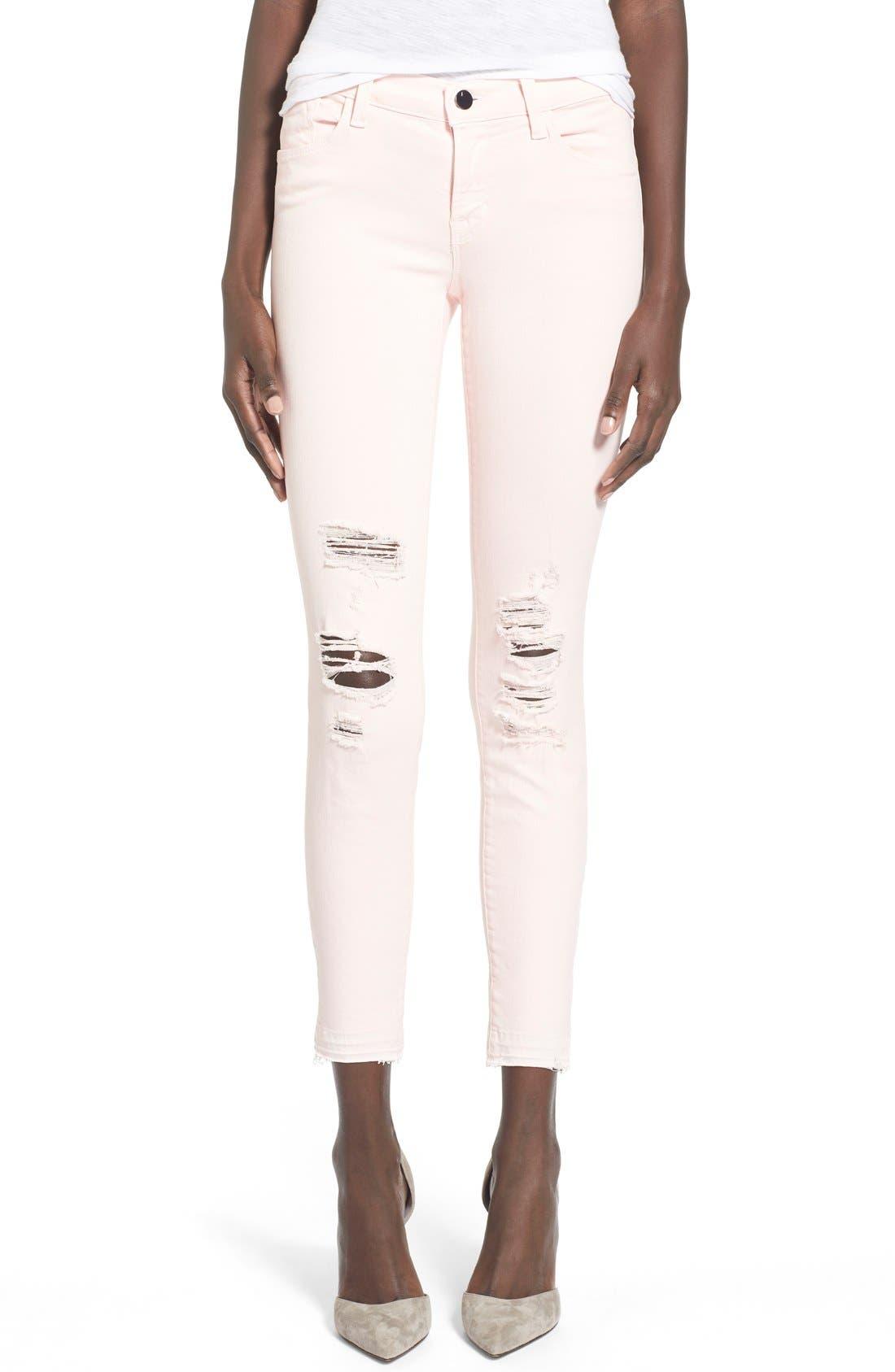 J BRAND,                             'Little Pink Jean' Low RiseCropSkinny Jeans,                             Main thumbnail 1, color,                             650
