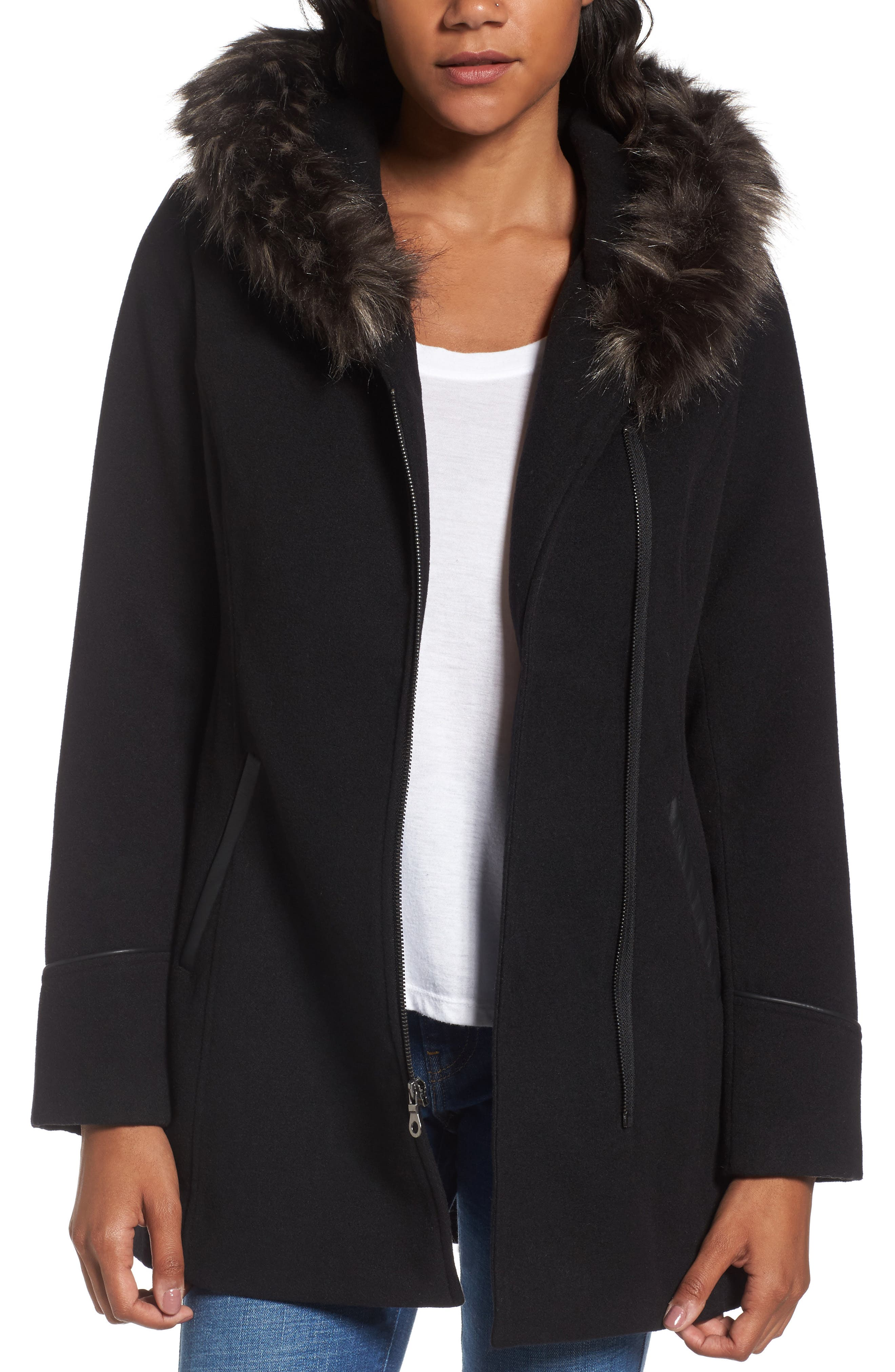 Asymmetrical Zip Jacket with Faux Fur Collar,                         Main,                         color, 001