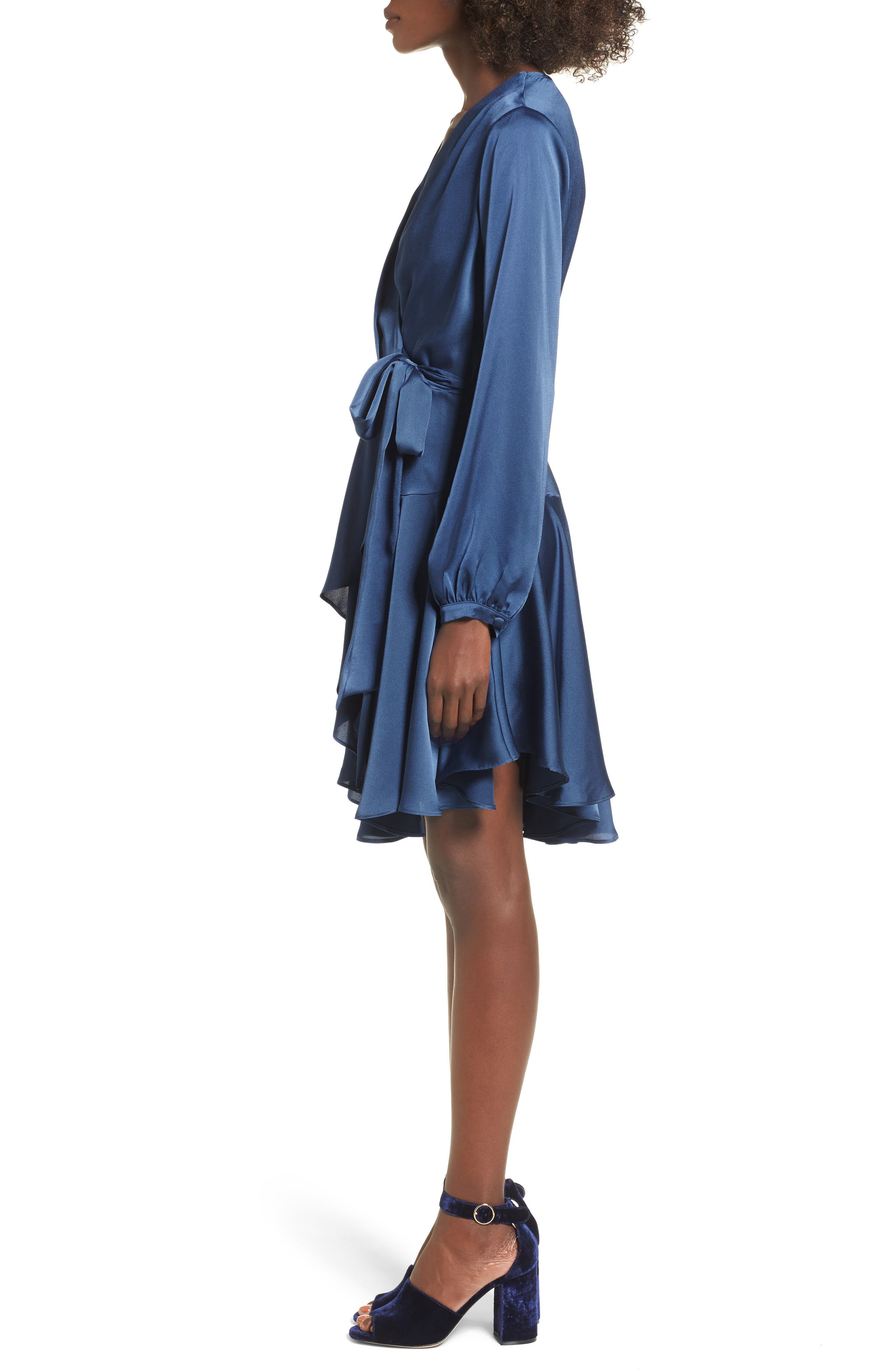 Elsa Satin Ruffle Wrap Minidress,                             Alternate thumbnail 3, color,                             420