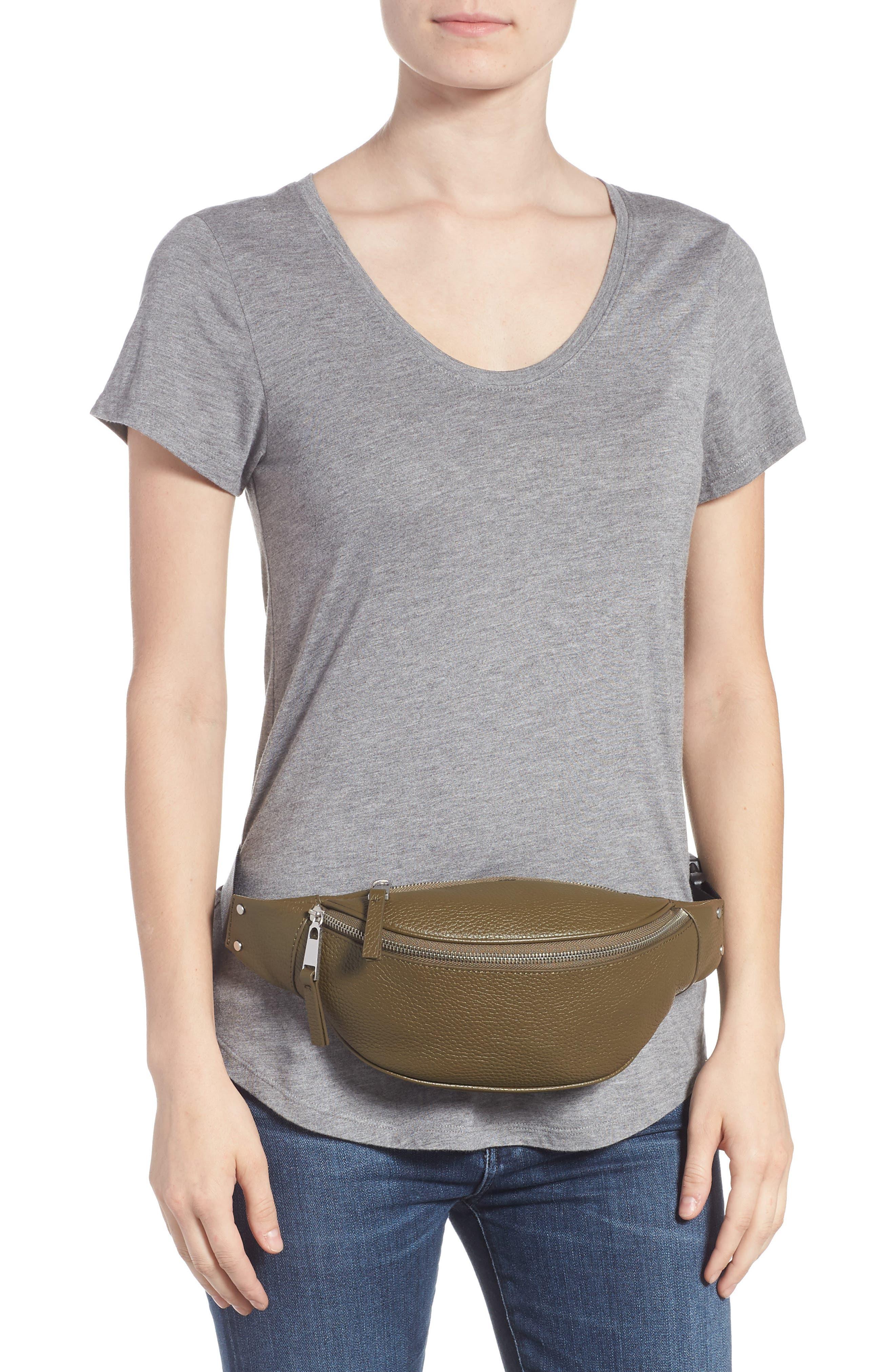 Mason Pebbled Leather Belt Bag,                             Alternate thumbnail 2, color,                             OLIVE GROVE