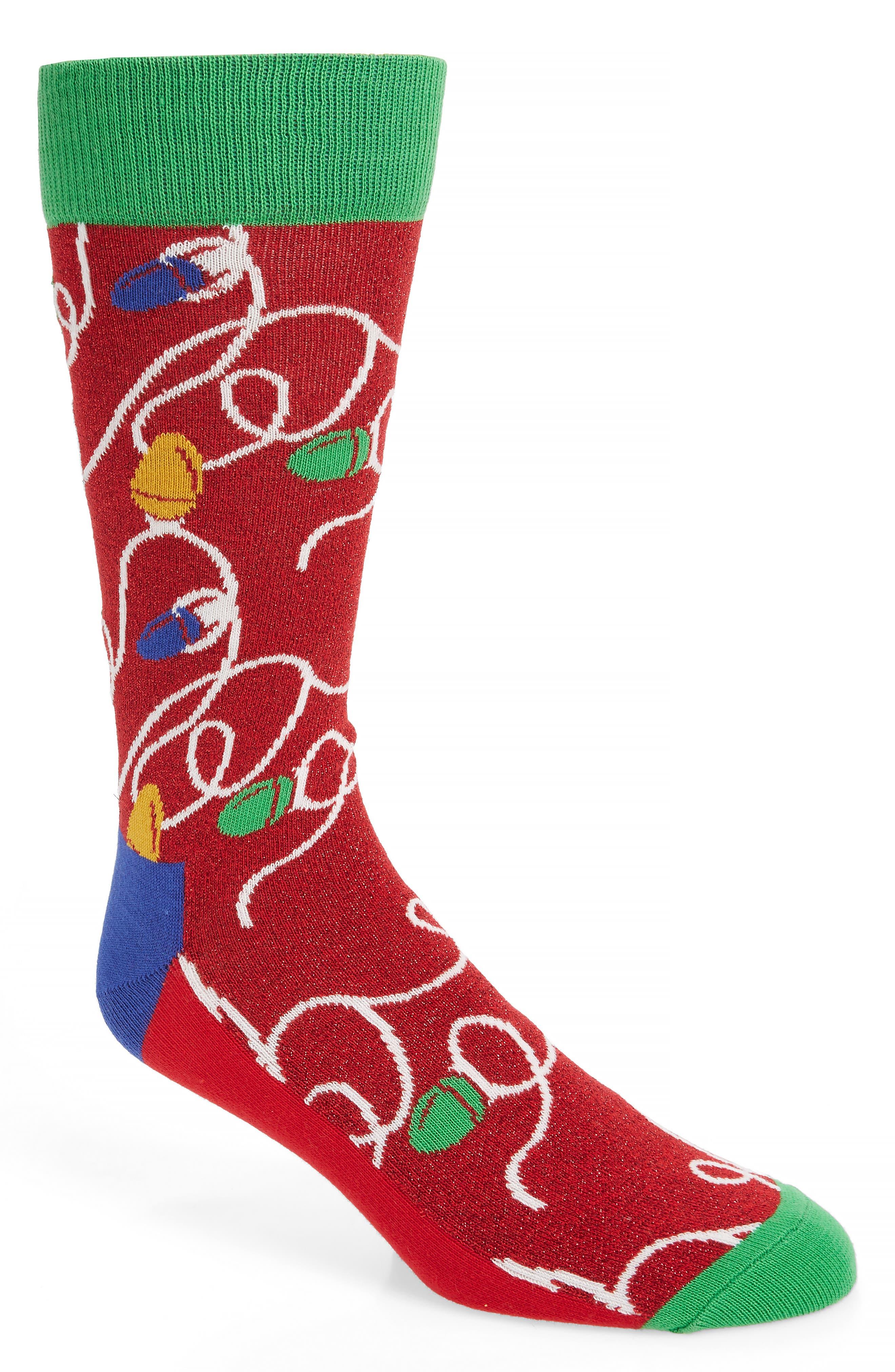 HAPPY SOCKS Holiday Lights Socks in Red
