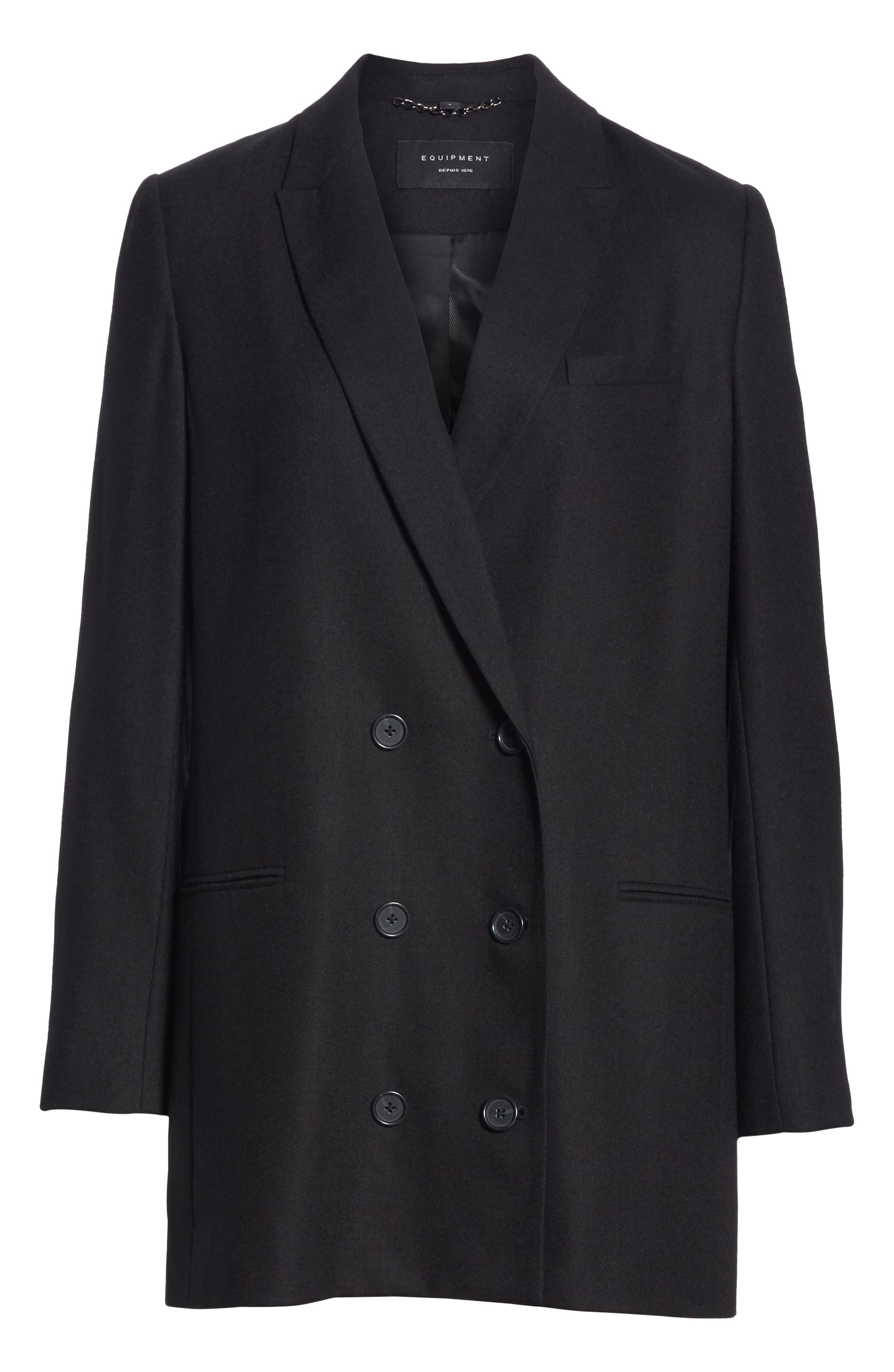 Norden Double Breasted Wool Jacket,                             Alternate thumbnail 6, color,                             001