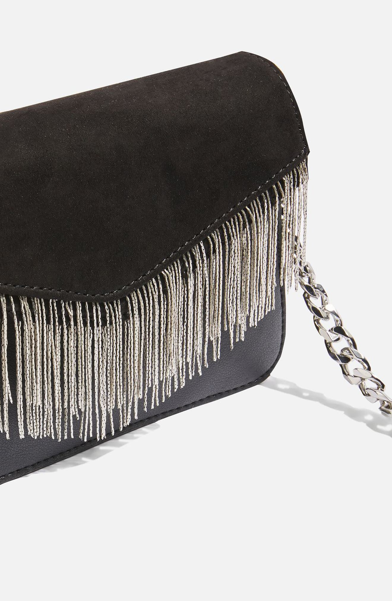 Remy Chain Flap Faux Leather Crossbody Bag,                             Alternate thumbnail 4, color,                             001