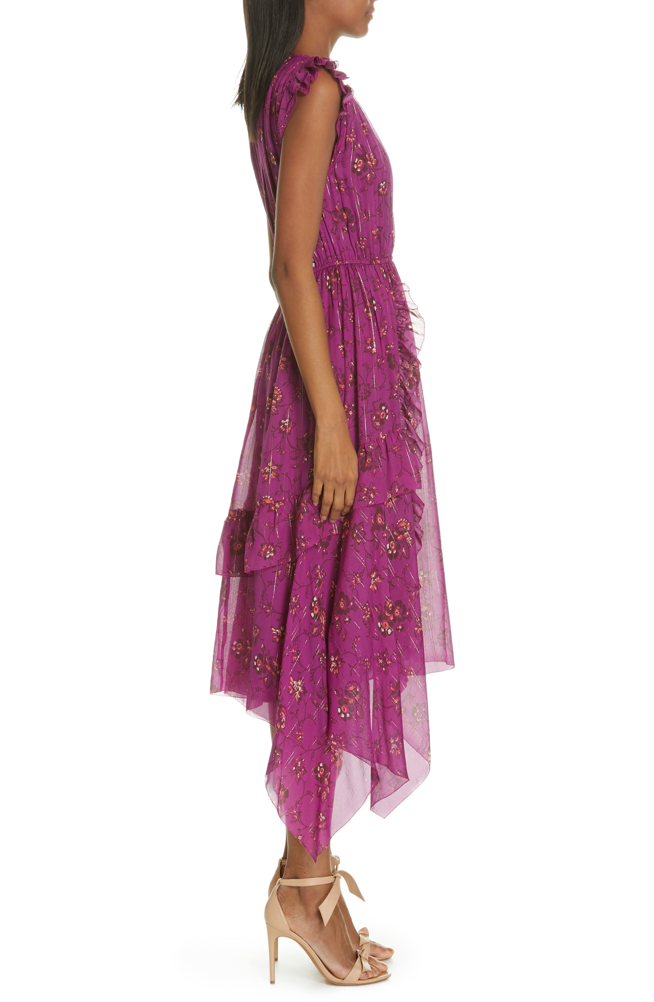 Ciel Floral Print Silk Blend Dress,                             Alternate thumbnail 3, color,                             MAGENTA