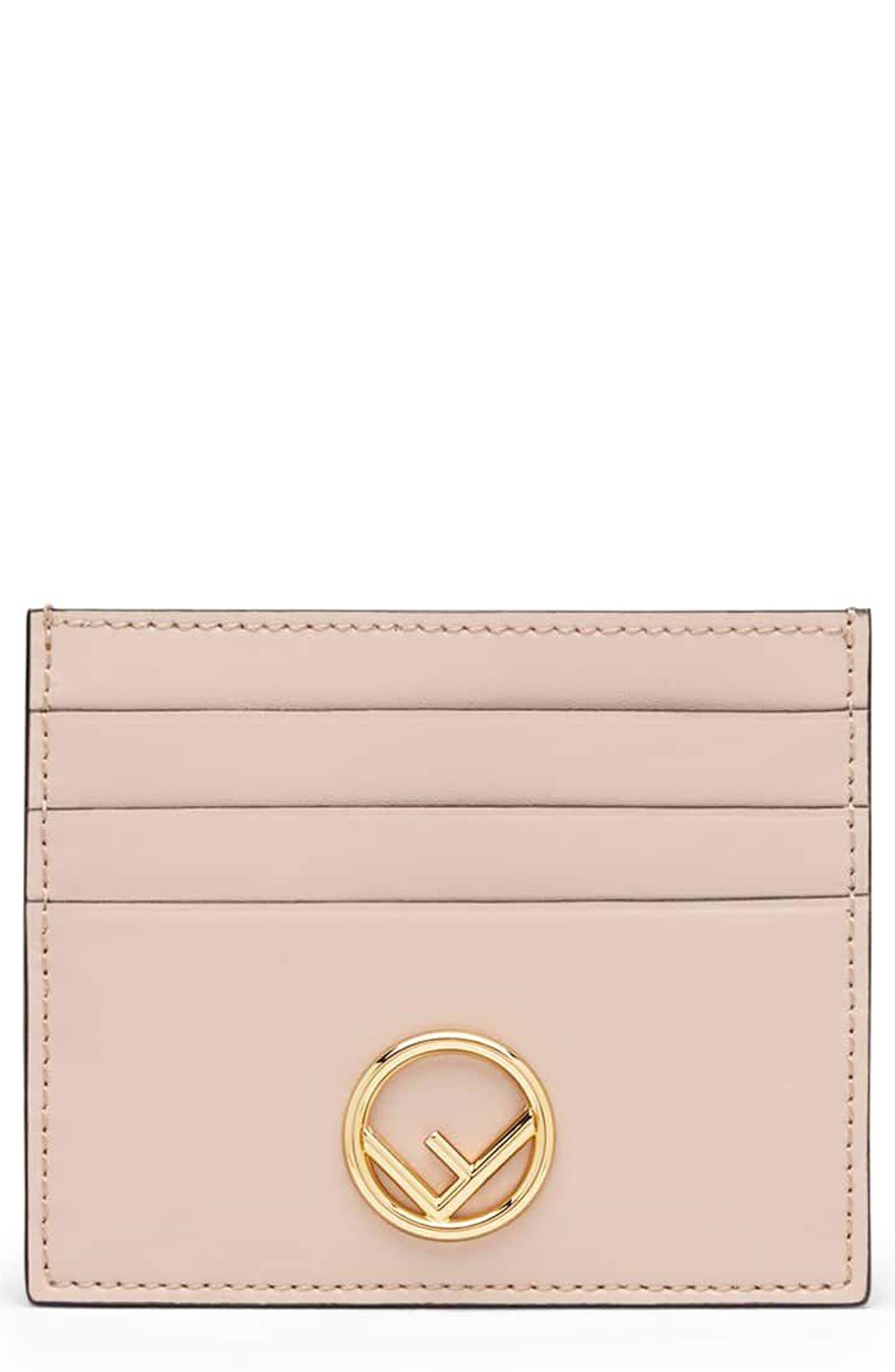 Logo Leather Card Case,                         Main,                         color, SOAP/ ORO SOFT
