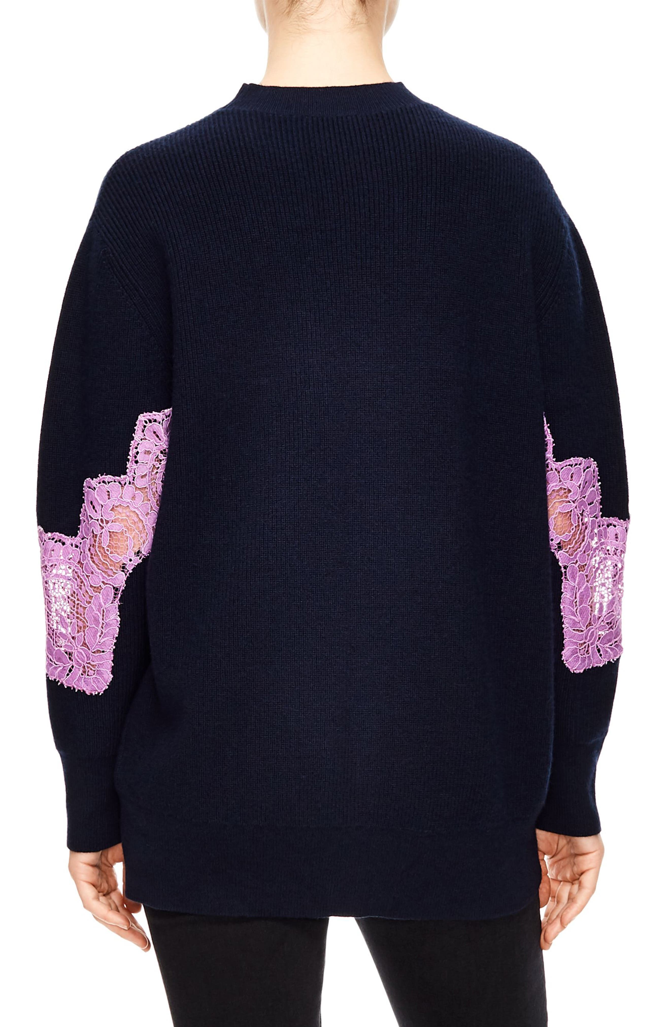 Lace Detail Sweater,                             Alternate thumbnail 2, color,                             DEEP NAVY