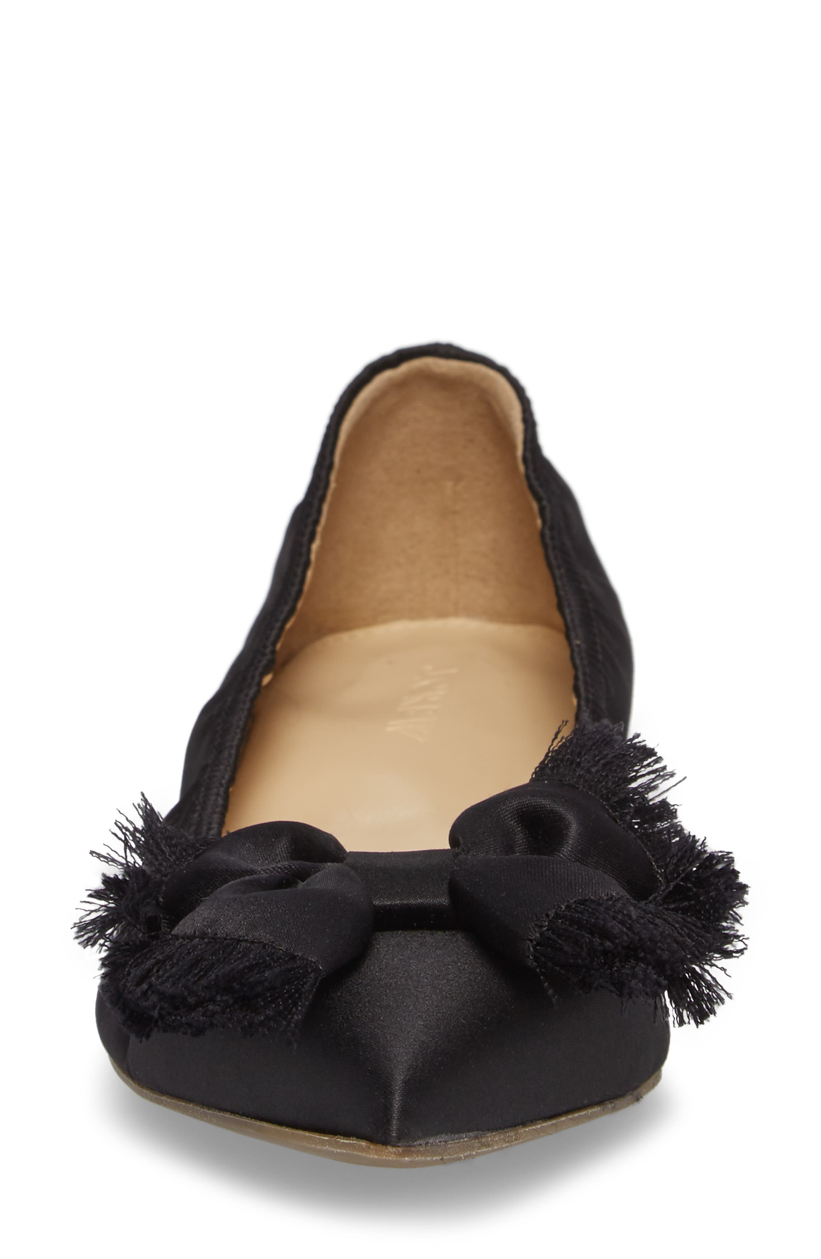 Lottie Frayed Bow Flat,                             Alternate thumbnail 4, color,                             001
