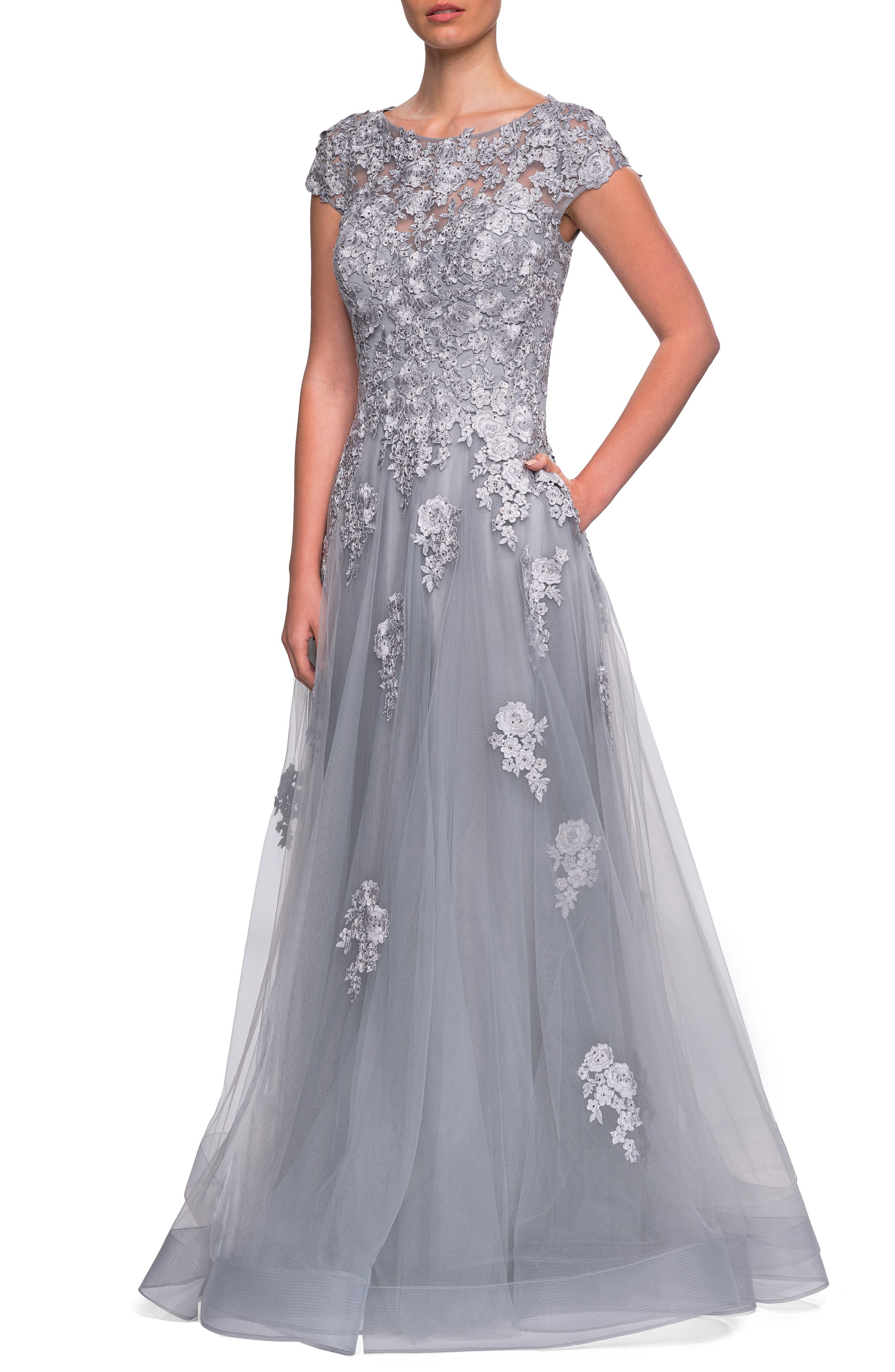 1940s Evening, Prom, Party, Formal, Ball Gowns Womens La Femme Embellished Mesh A-Line Gown Size 20 - Grey $578.00 AT vintagedancer.com