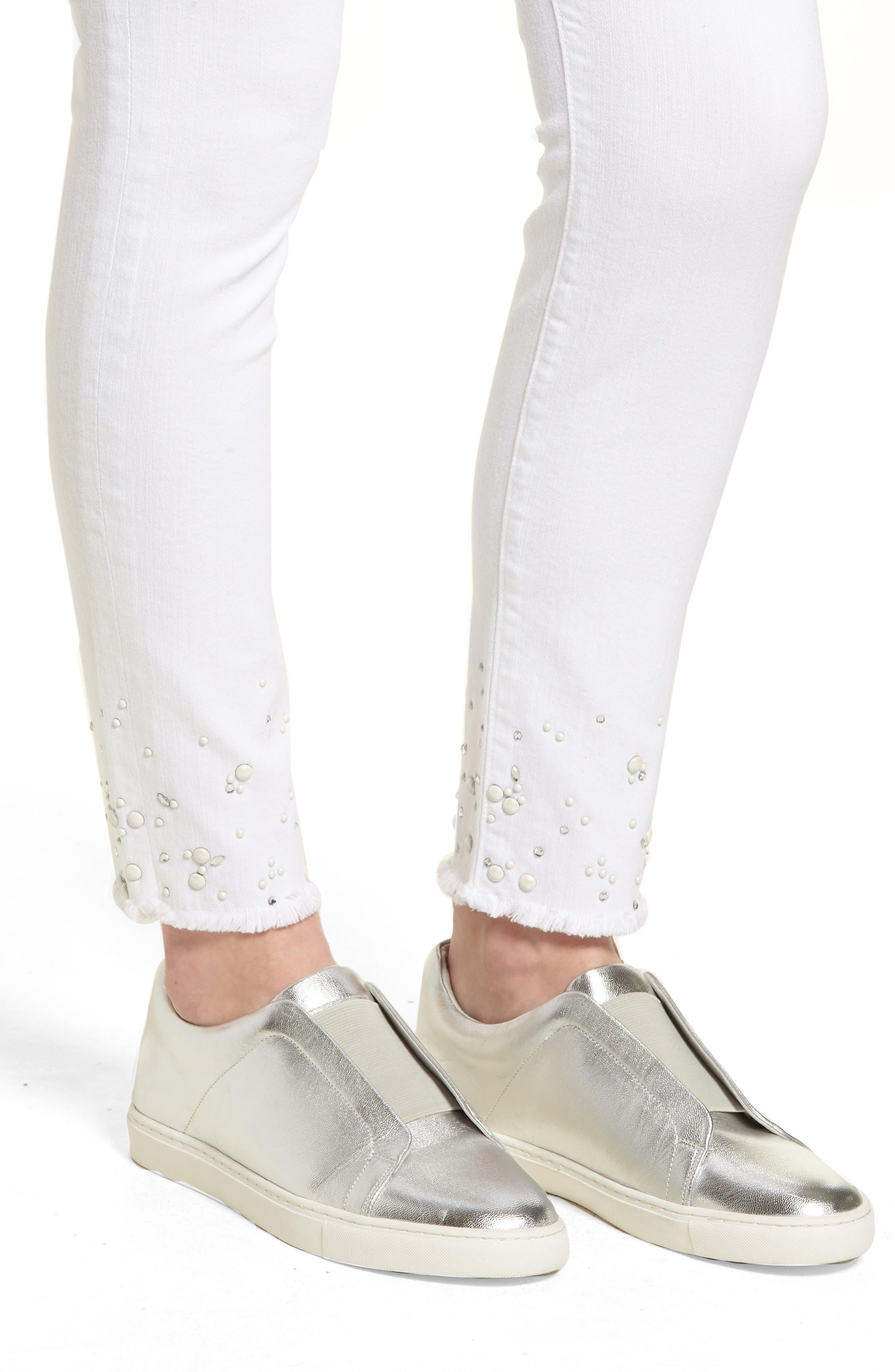 Crystal Hem Ankle Skinny Jeans,                             Alternate thumbnail 4, color,                             WHITE