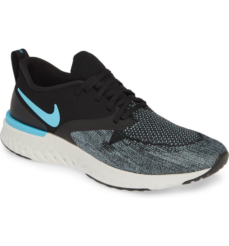 buy online b8ac1 d110f NIKE Odyssey React 2 Flyknit Running Shoe, Main, color, BLACK BLUE FURY