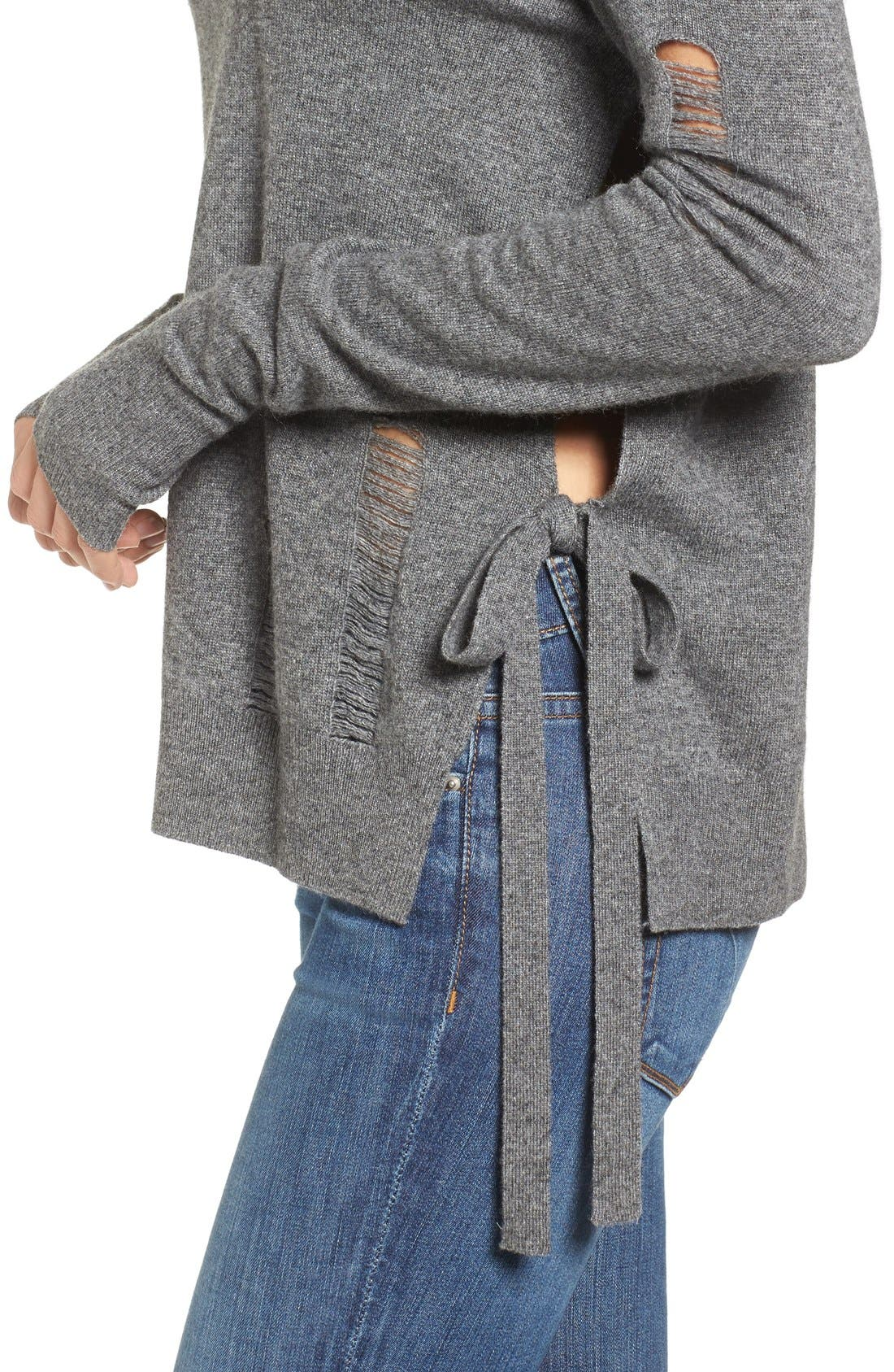 Distressed Turtleneck Sweater,                             Alternate thumbnail 4, color,