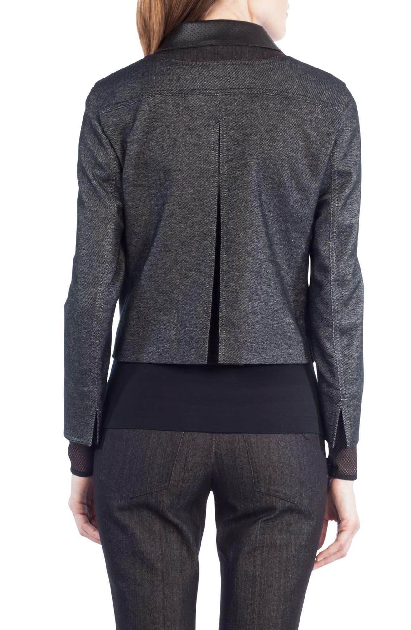 Leather Trim Crop Denim Jacket,                             Alternate thumbnail 2, color,                             001