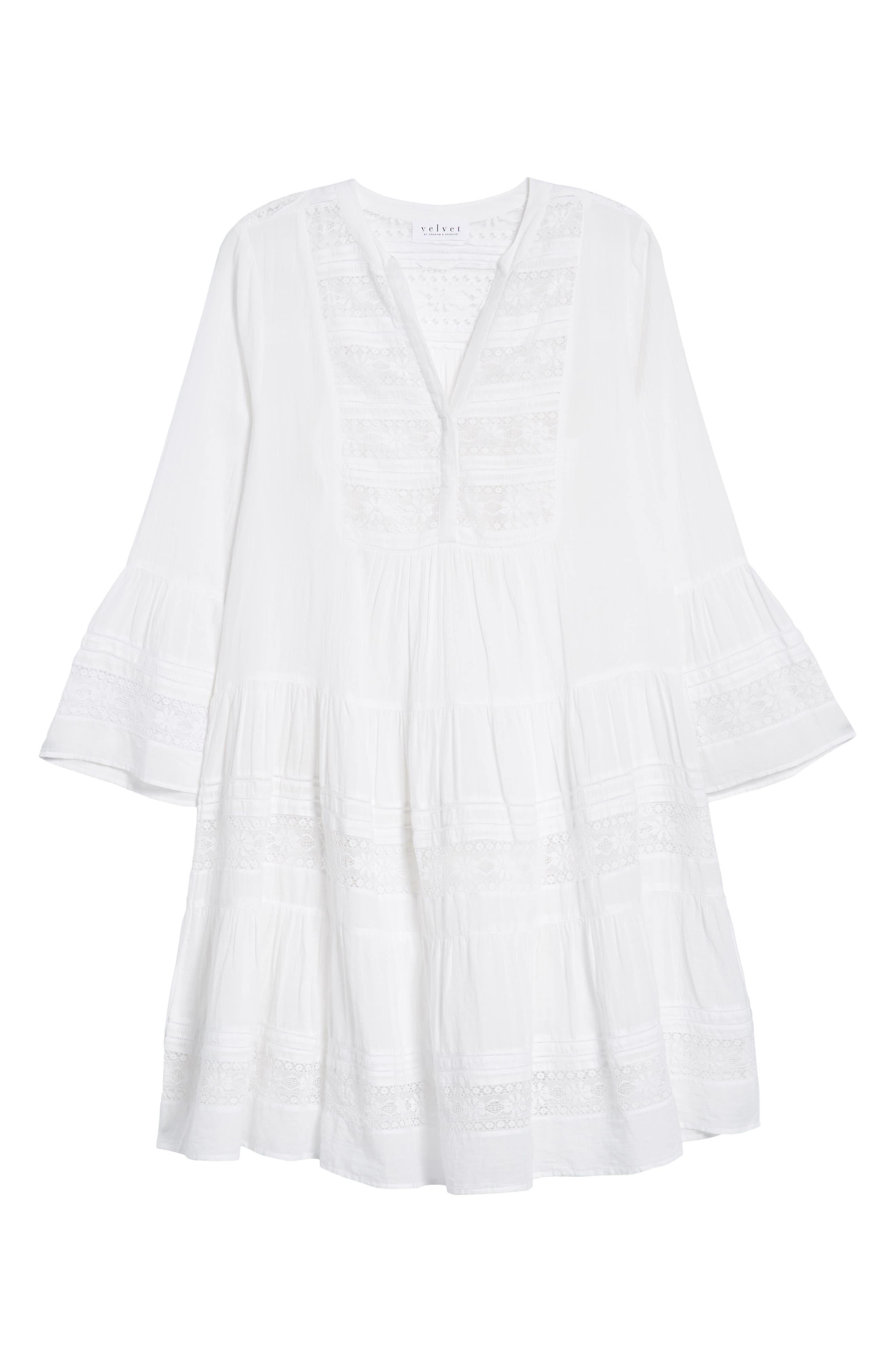 Lace Inset Cotton Gauze Dress,                             Alternate thumbnail 7, color,                             100