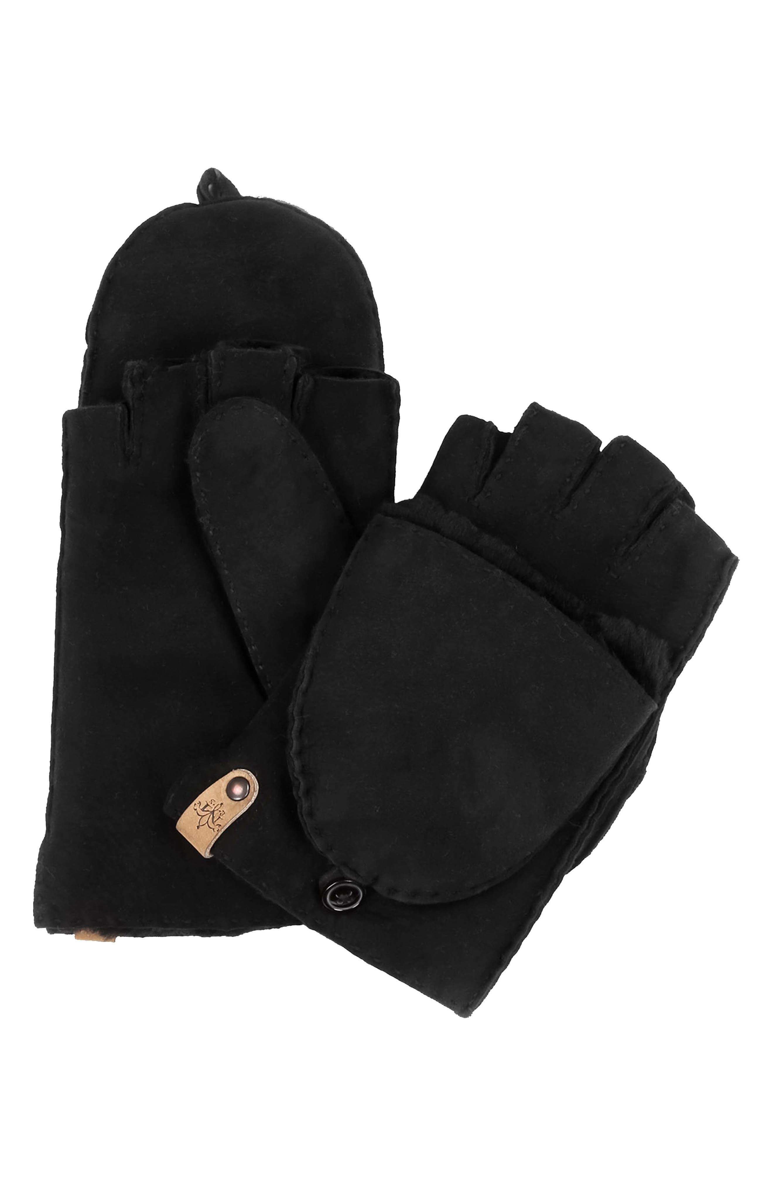 Orea Pop Top Sheepskin Leather Mittens,                         Main,                         color, BLACK