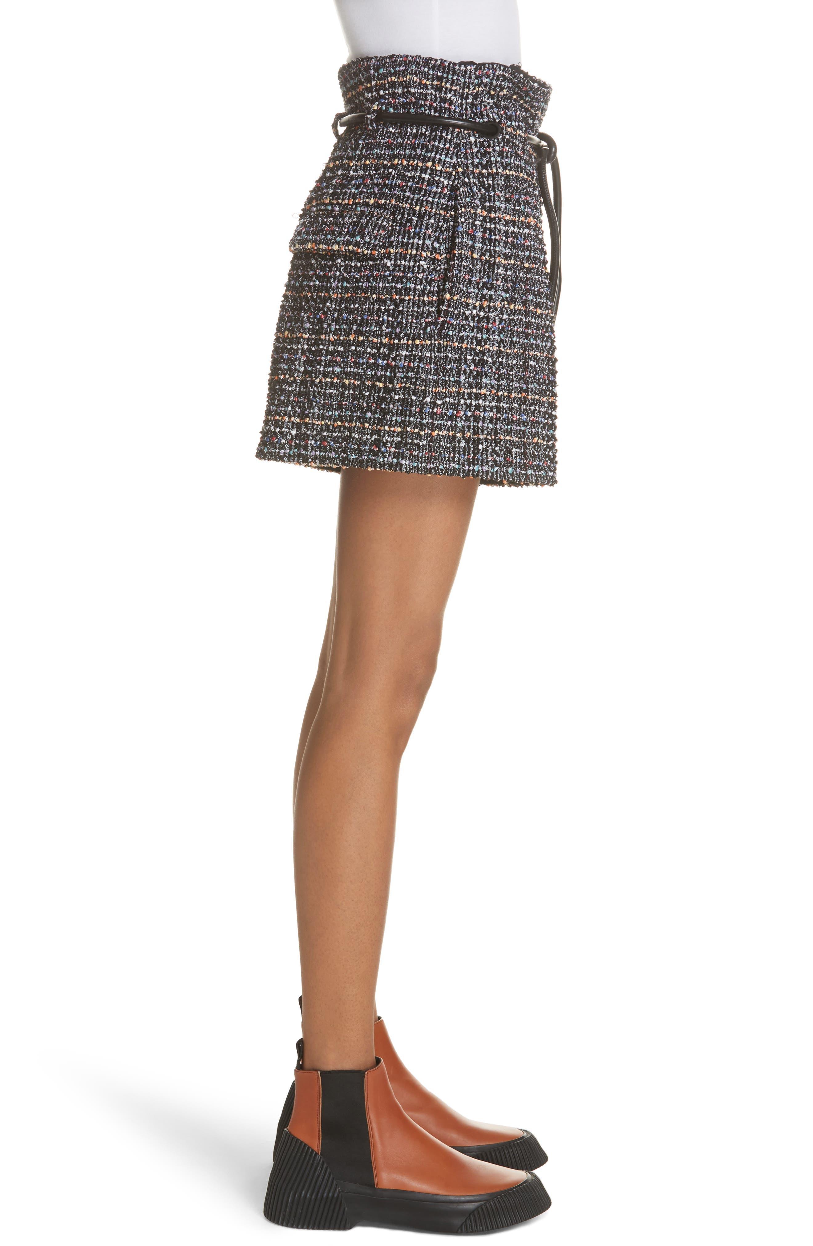 3.1 PHILLIP LIM,                             Paperbag Waist Tweed Shorts,                             Alternate thumbnail 3, color,                             014