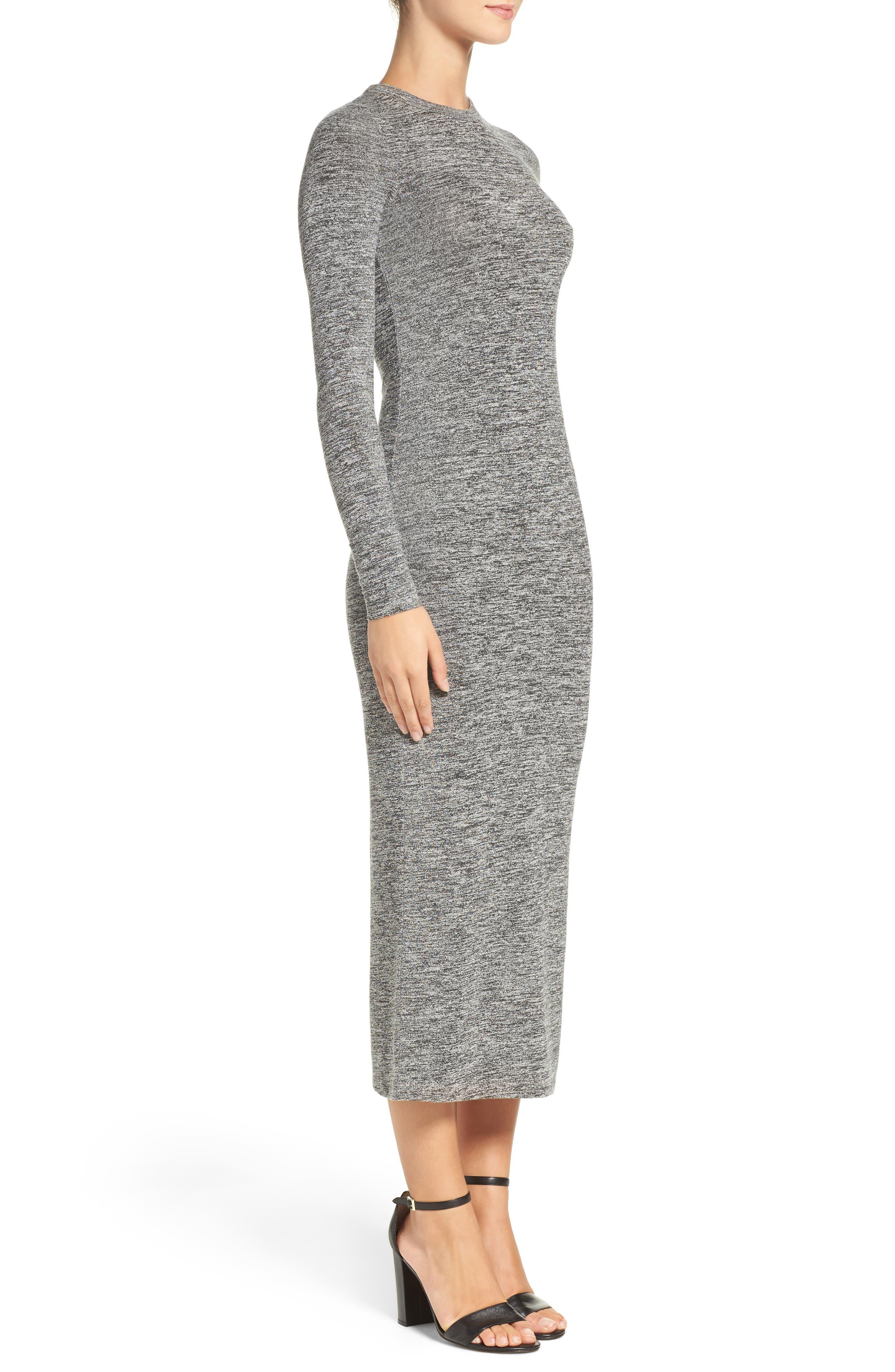 Sweater Maxi Dress,                             Alternate thumbnail 3, color,                             LIGHT GREY