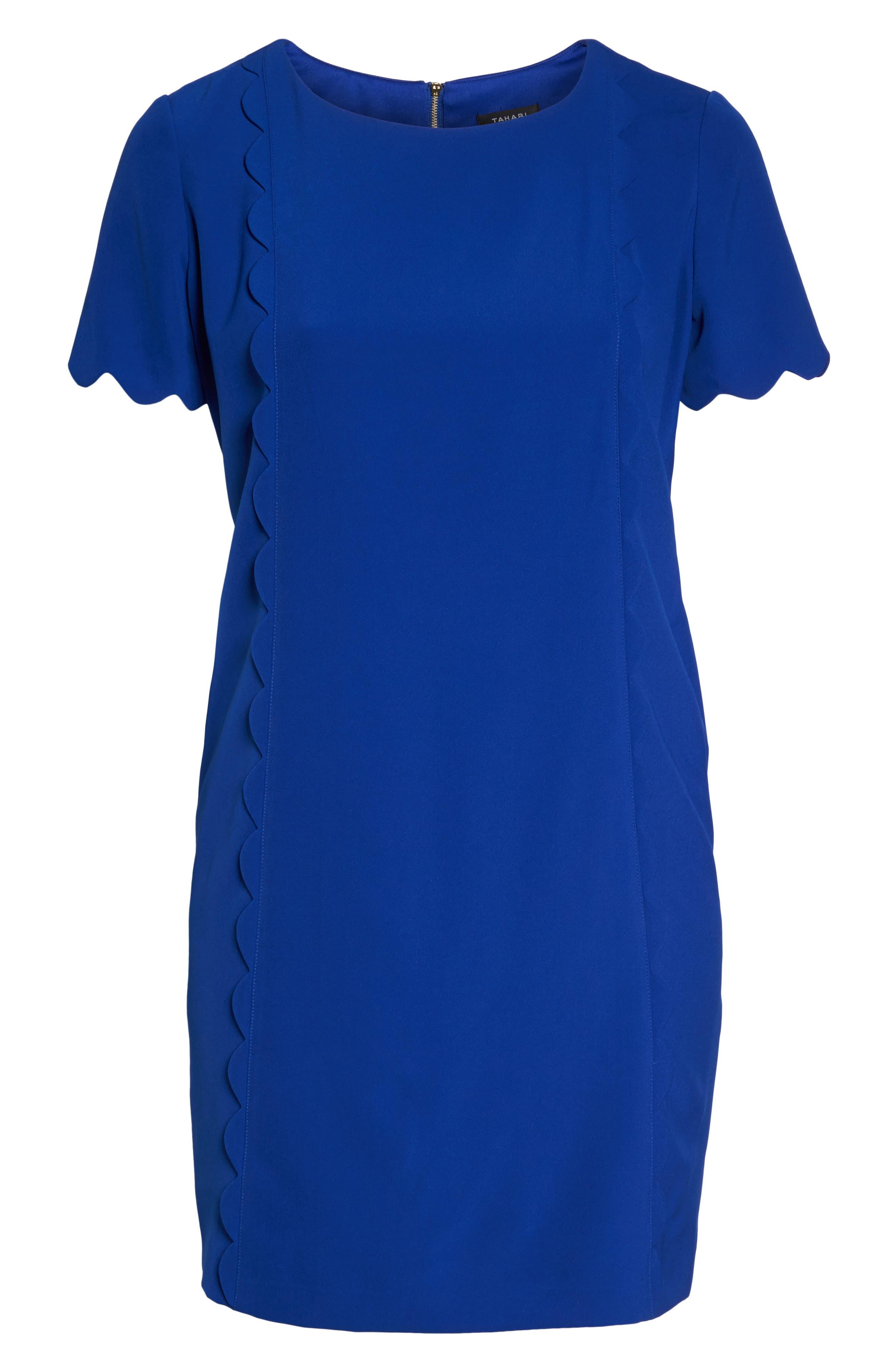 Scalloped Trim Shift Dress,                             Alternate thumbnail 6, color,
