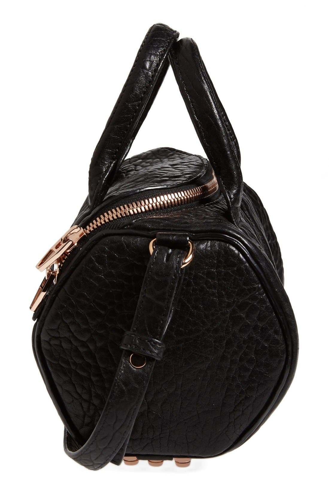 ALEXANDER WANG,                             'Mini Rockie - Rose Gold' Leather Crossbody Satchel,                             Alternate thumbnail 3, color,                             BLACK