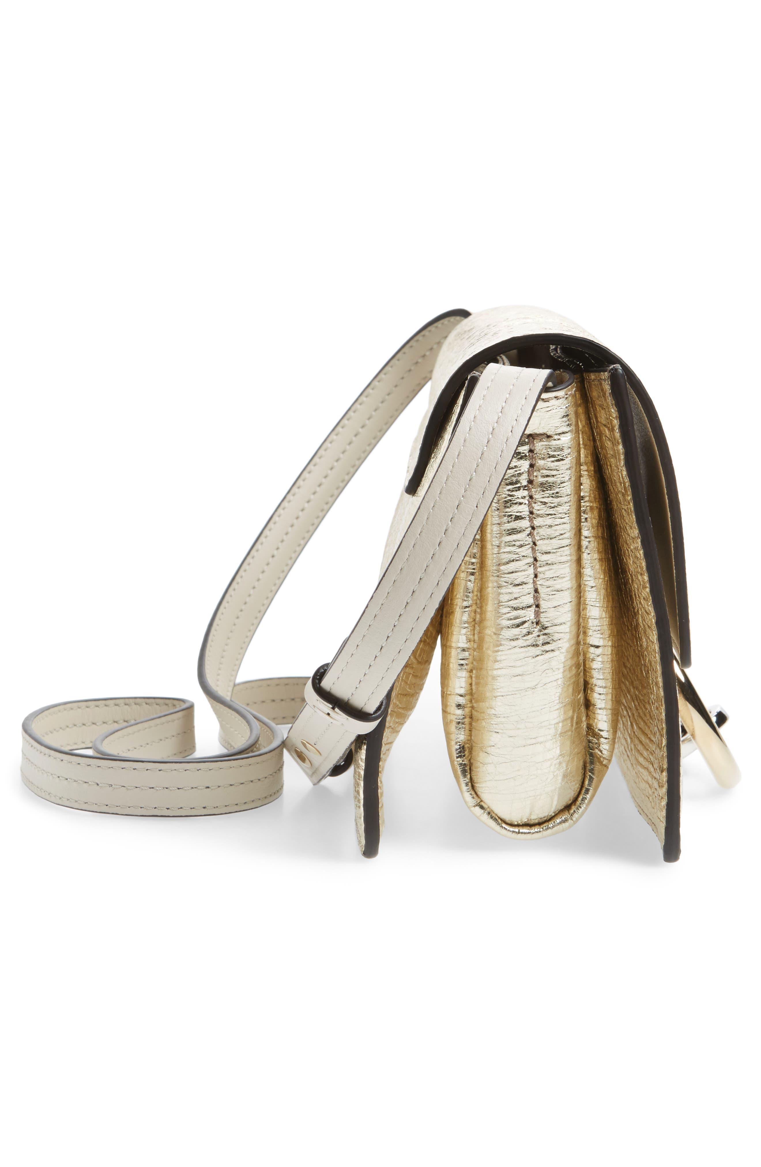 Small Faye Metallic Leather Shoulder Bag,                             Alternate thumbnail 5, color,                             GOLD