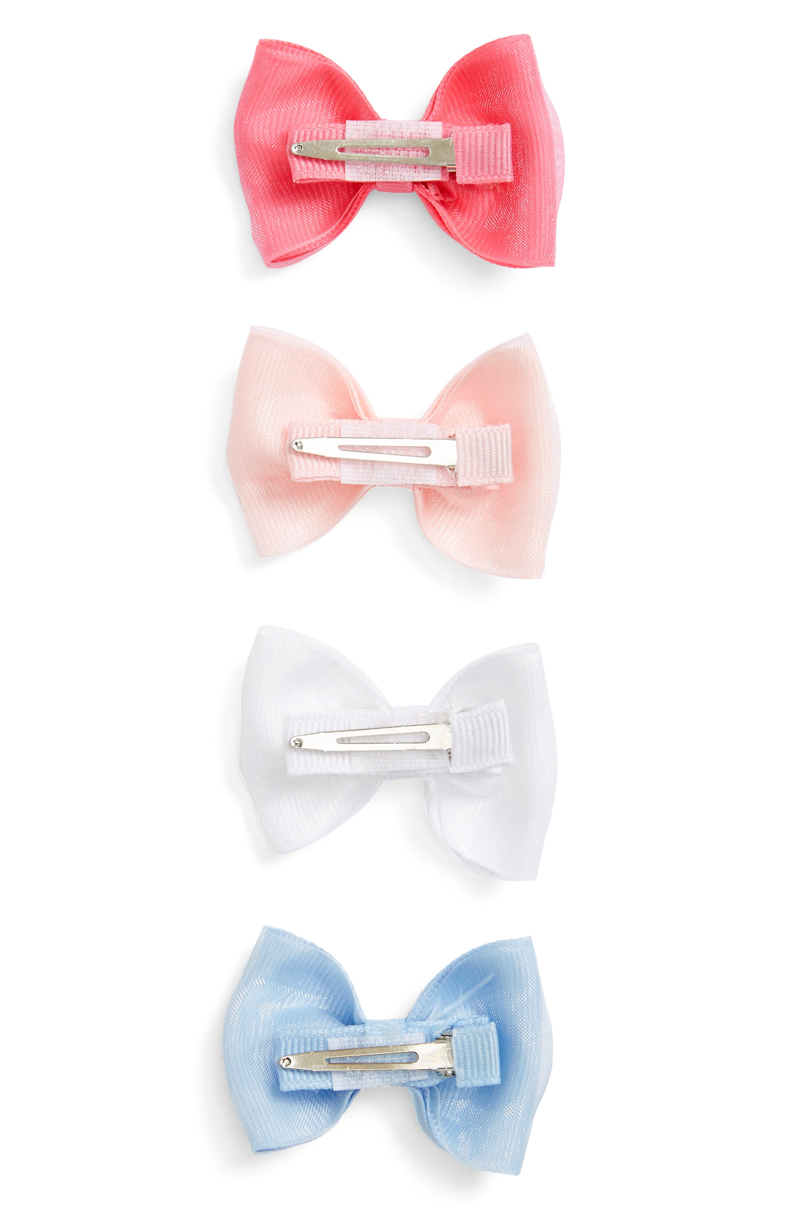 4-Pack Organza Bow Clips,                             Alternate thumbnail 4, color,                             PEONY